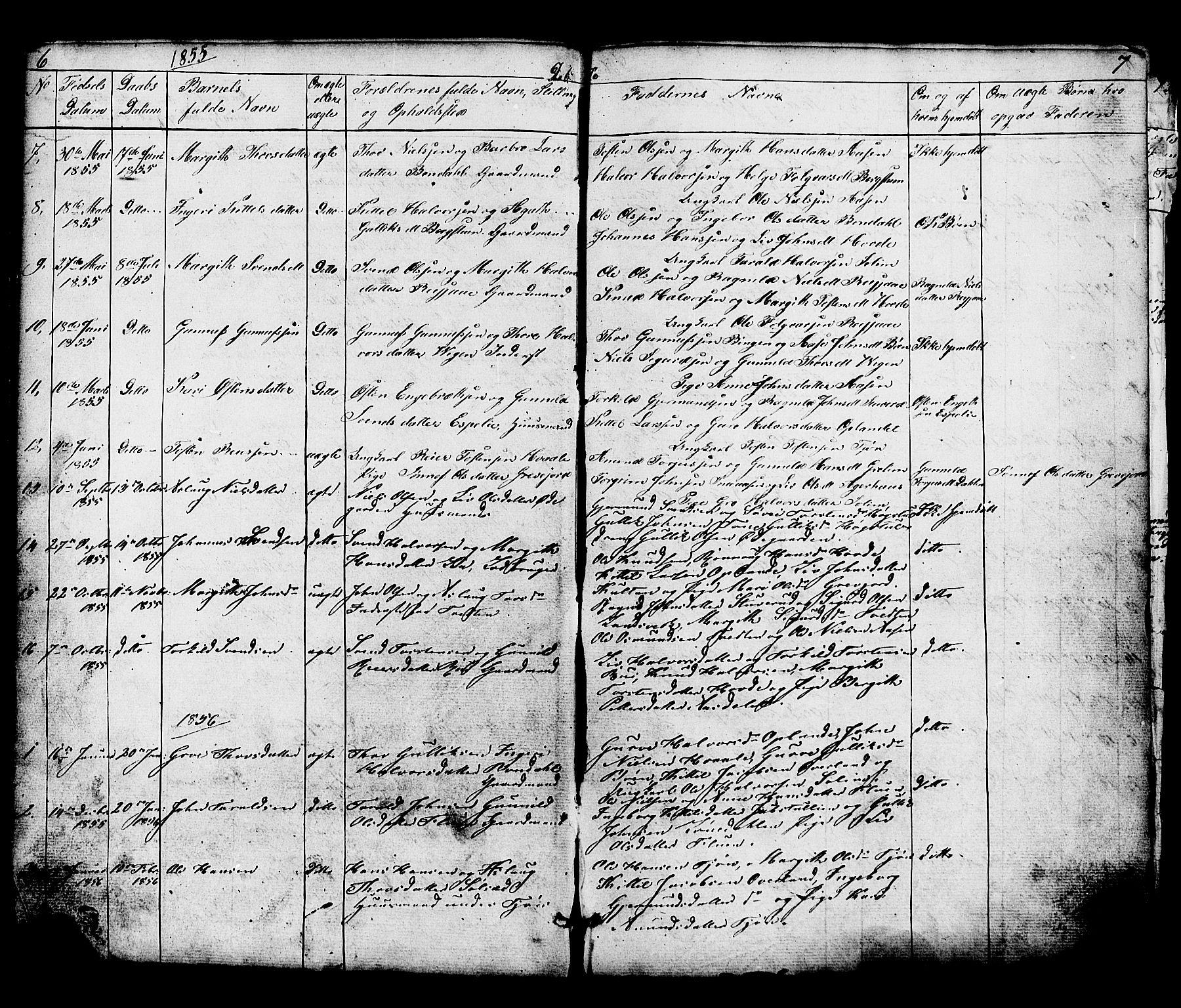 SAKO, Hjartdal kirkebøker, G/Gc/L0002: Klokkerbok nr. III 2, 1854-1890, s. 6-7