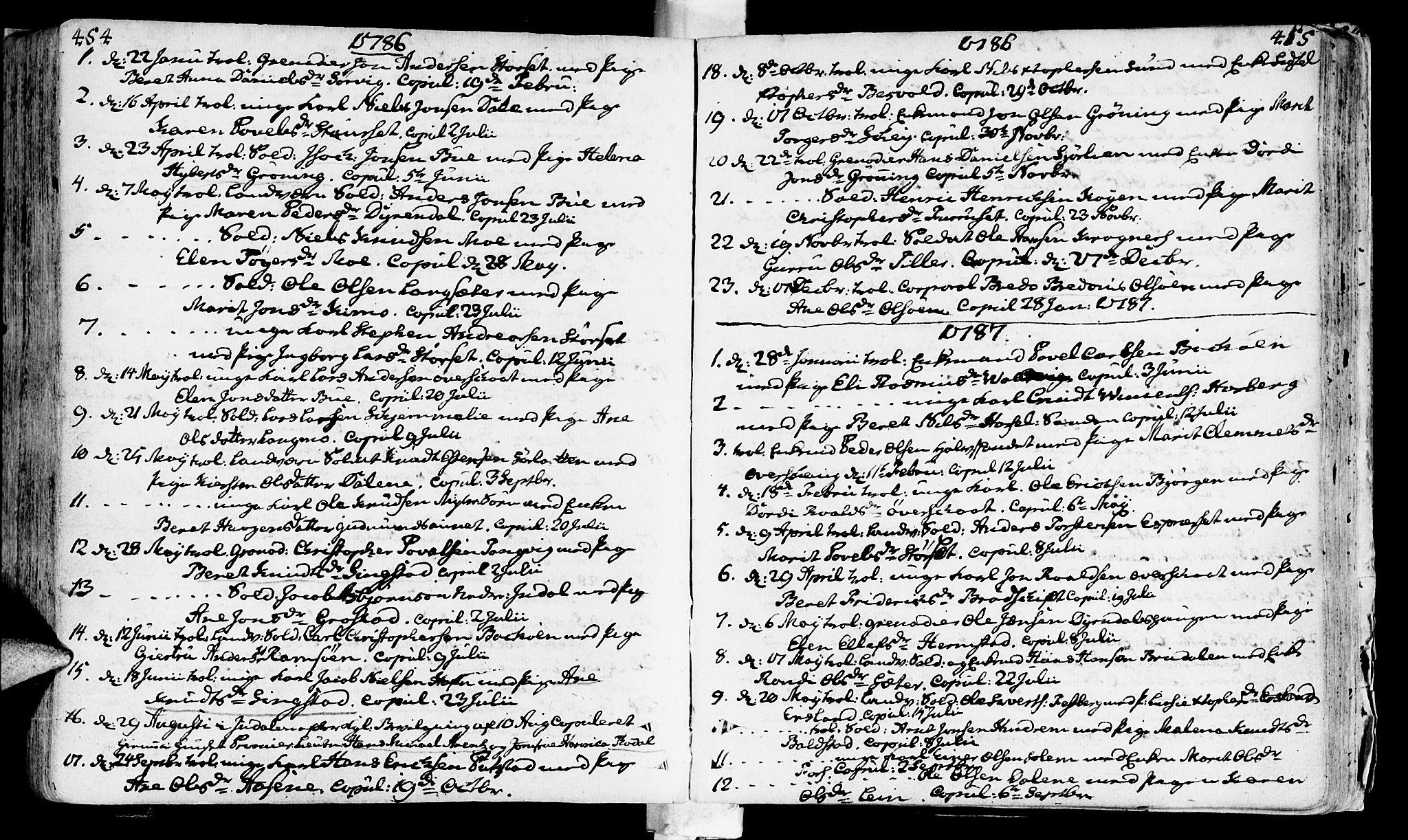 SAT, Ministerialprotokoller, klokkerbøker og fødselsregistre - Sør-Trøndelag, 646/L0605: Ministerialbok nr. 646A03, 1751-1790, s. 454-455