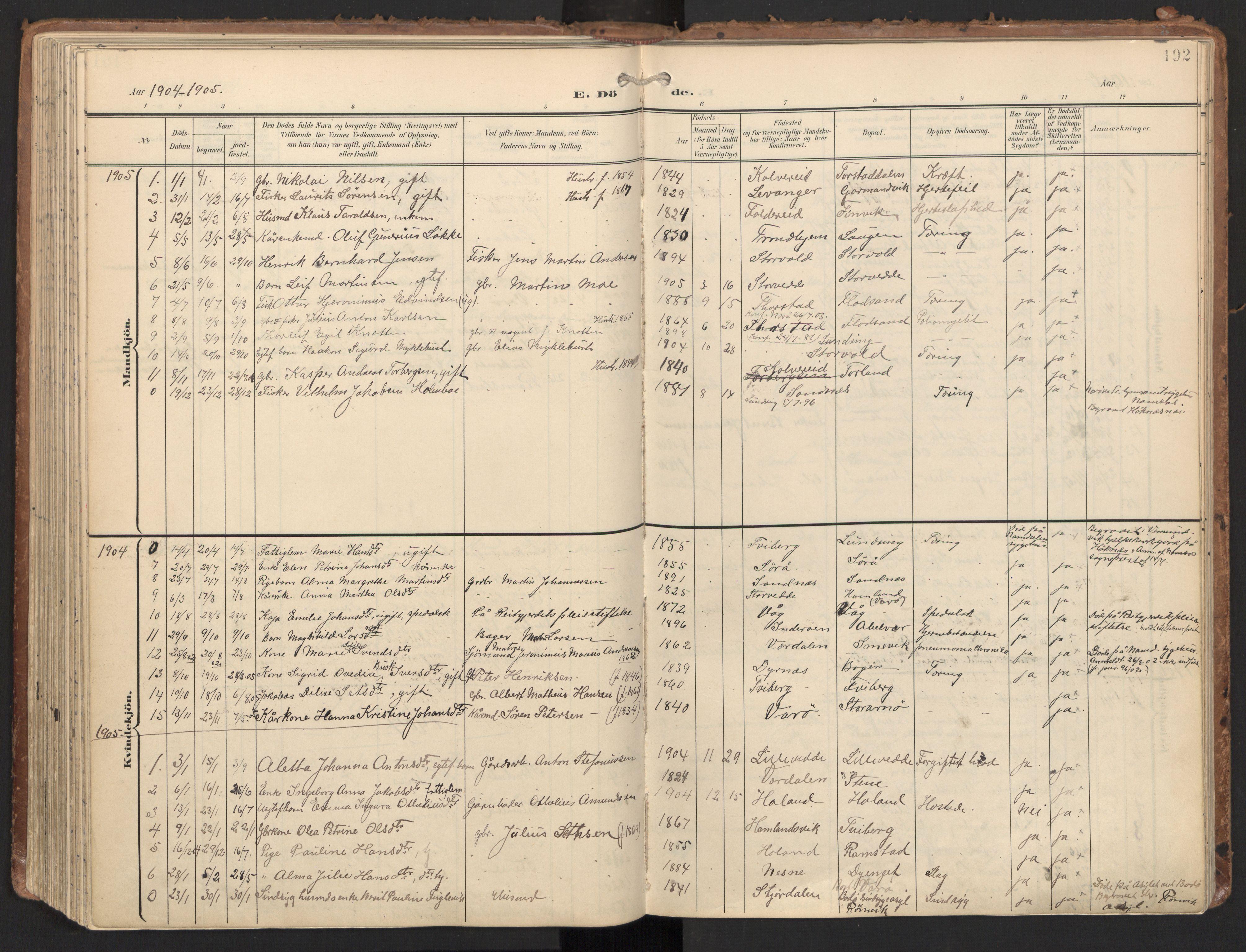 SAT, Ministerialprotokoller, klokkerbøker og fødselsregistre - Nord-Trøndelag, 784/L0677: Ministerialbok nr. 784A12, 1900-1920, s. 192