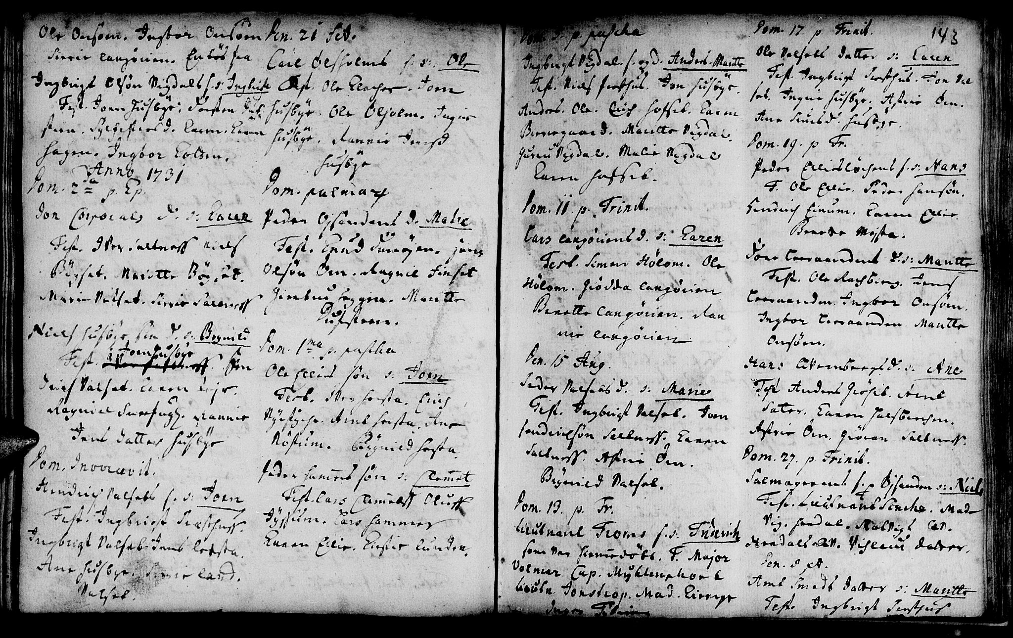 SAT, Ministerialprotokoller, klokkerbøker og fødselsregistre - Sør-Trøndelag, 666/L0783: Ministerialbok nr. 666A01, 1702-1753, s. 143