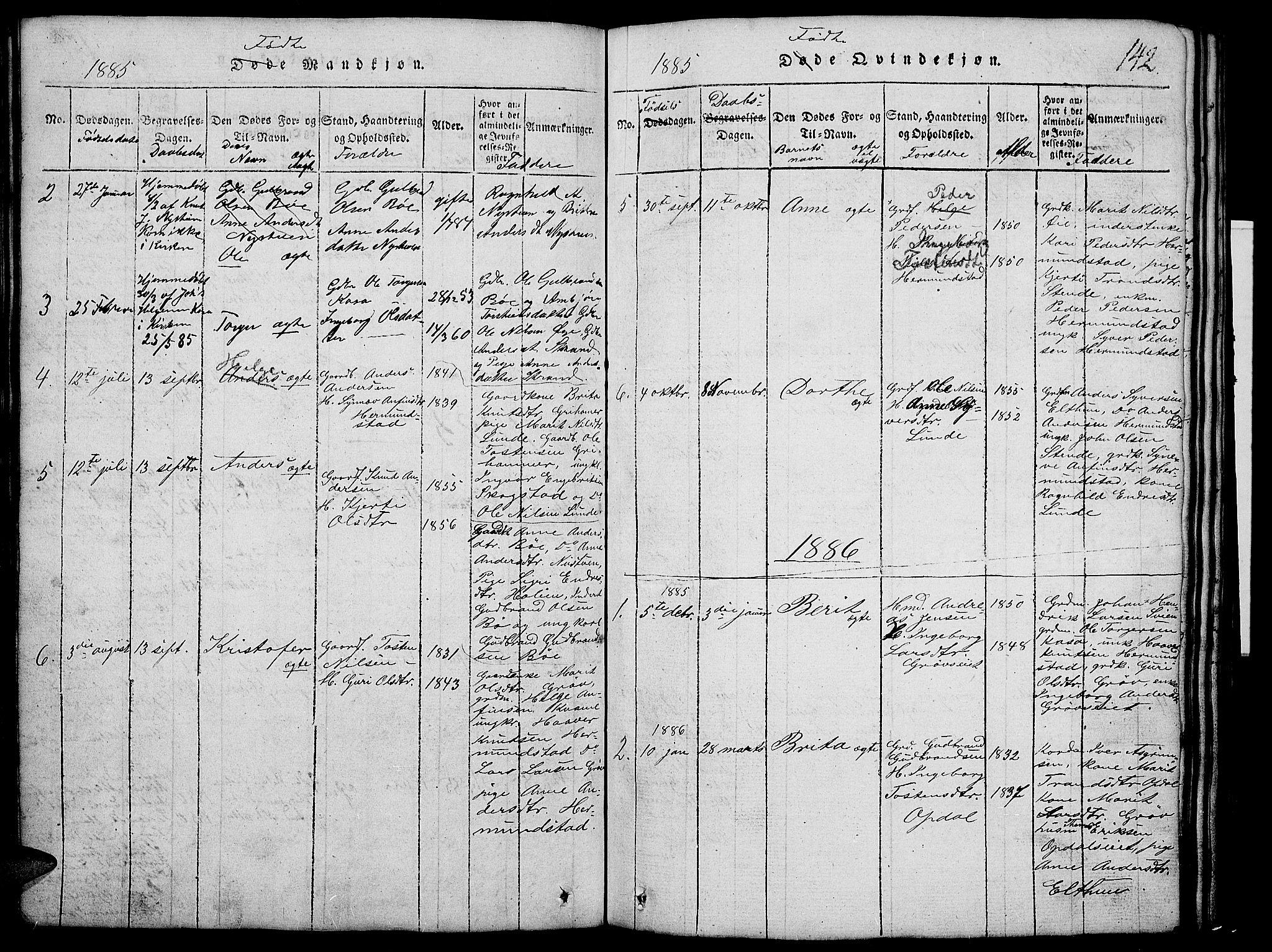 SAH, Vang prestekontor, Valdres, Klokkerbok nr. 2, 1814-1889, s. 142
