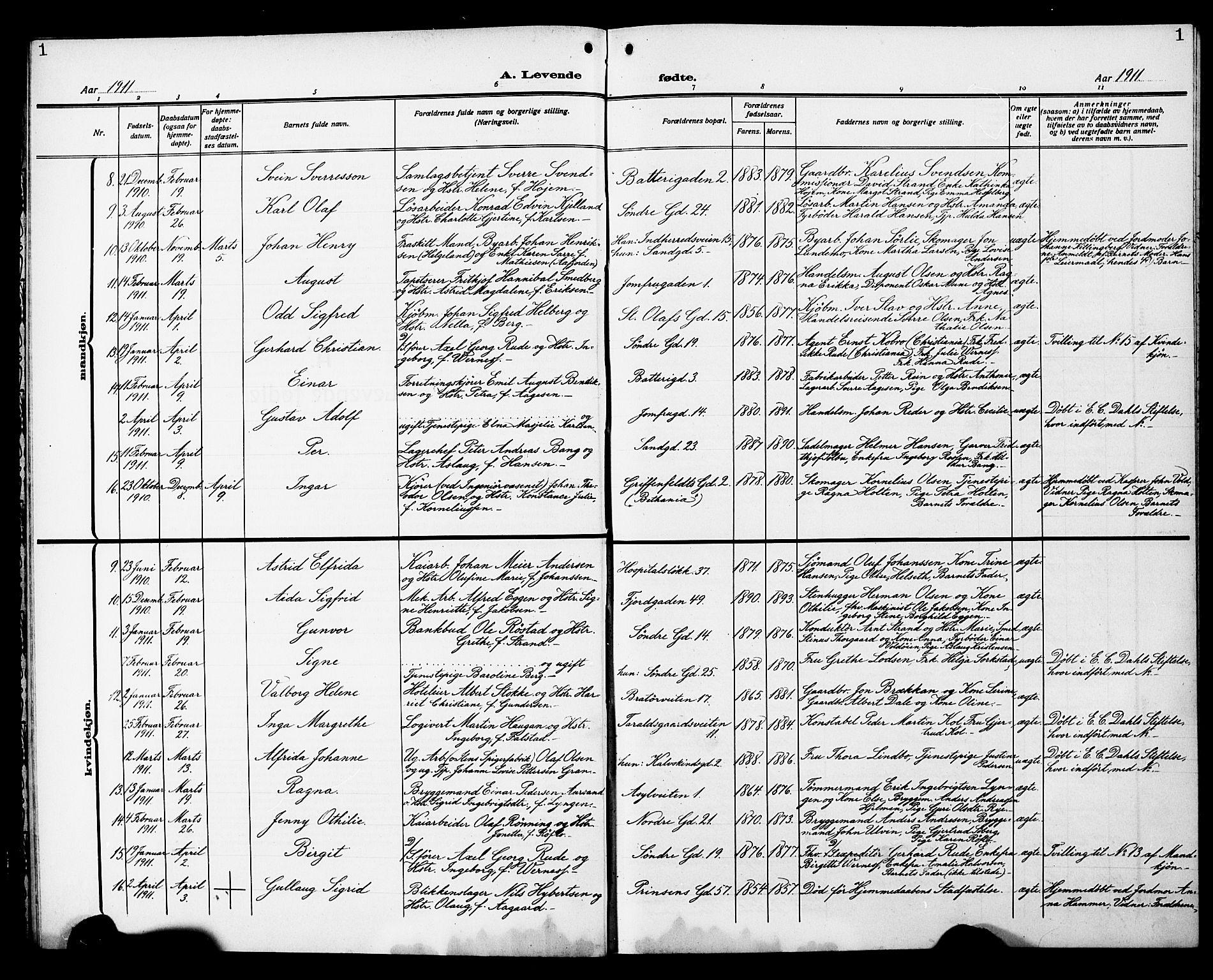 SAT, Ministerialprotokoller, klokkerbøker og fødselsregistre - Sør-Trøndelag, 602/L0147: Klokkerbok nr. 602C15, 1911-1924, s. 1