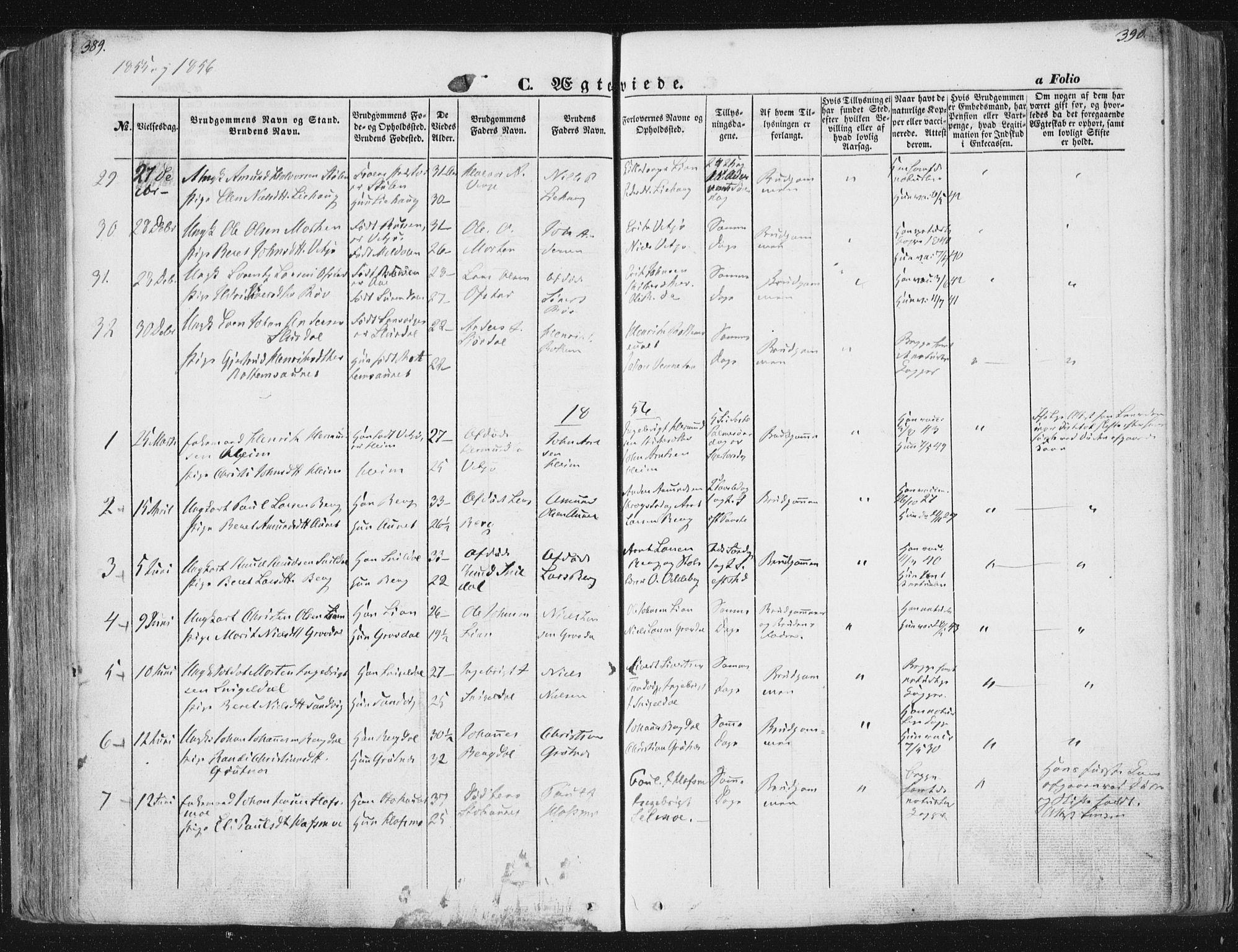 SAT, Ministerialprotokoller, klokkerbøker og fødselsregistre - Sør-Trøndelag, 630/L0494: Ministerialbok nr. 630A07, 1852-1868, s. 389-390