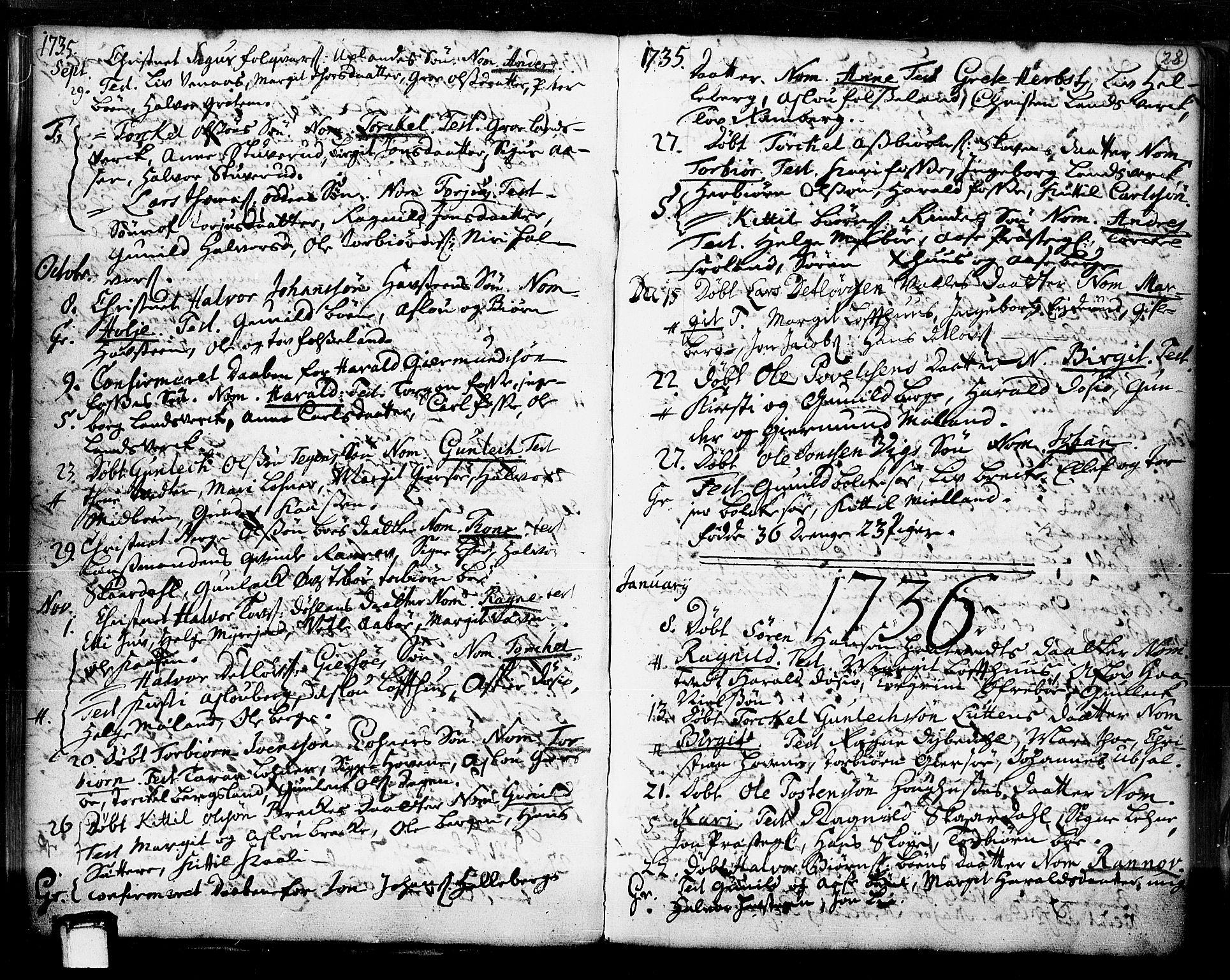 SAKO, Hjartdal kirkebøker, F/Fa/L0003: Ministerialbok nr. I 3, 1727-1775, s. 28