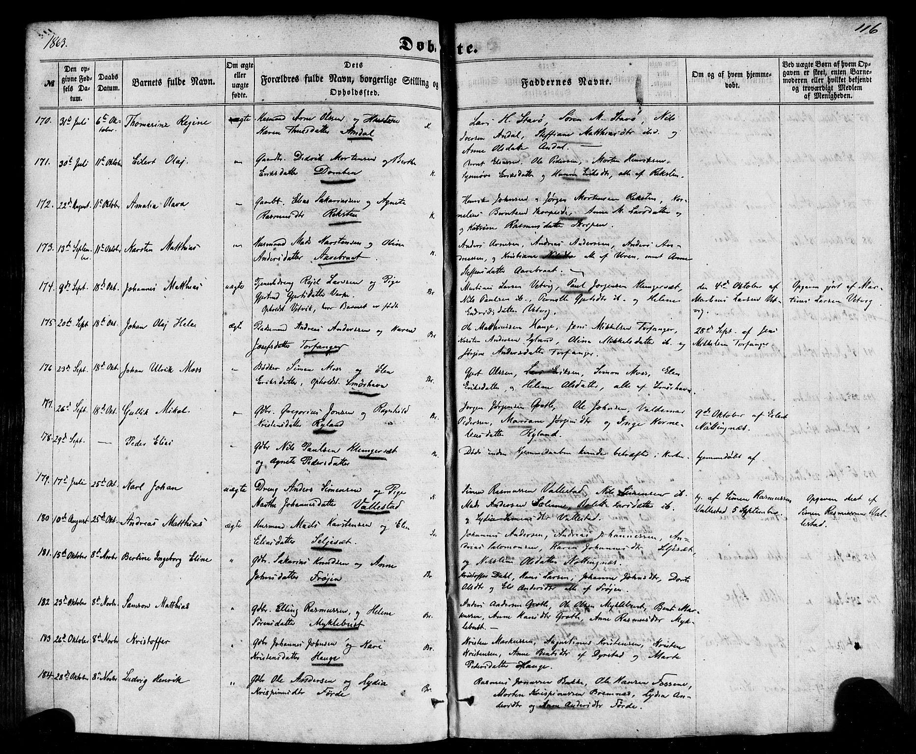 SAB, Kinn Sokneprestembete, Ministerialbok nr. A 6, 1857-1885, s. 116