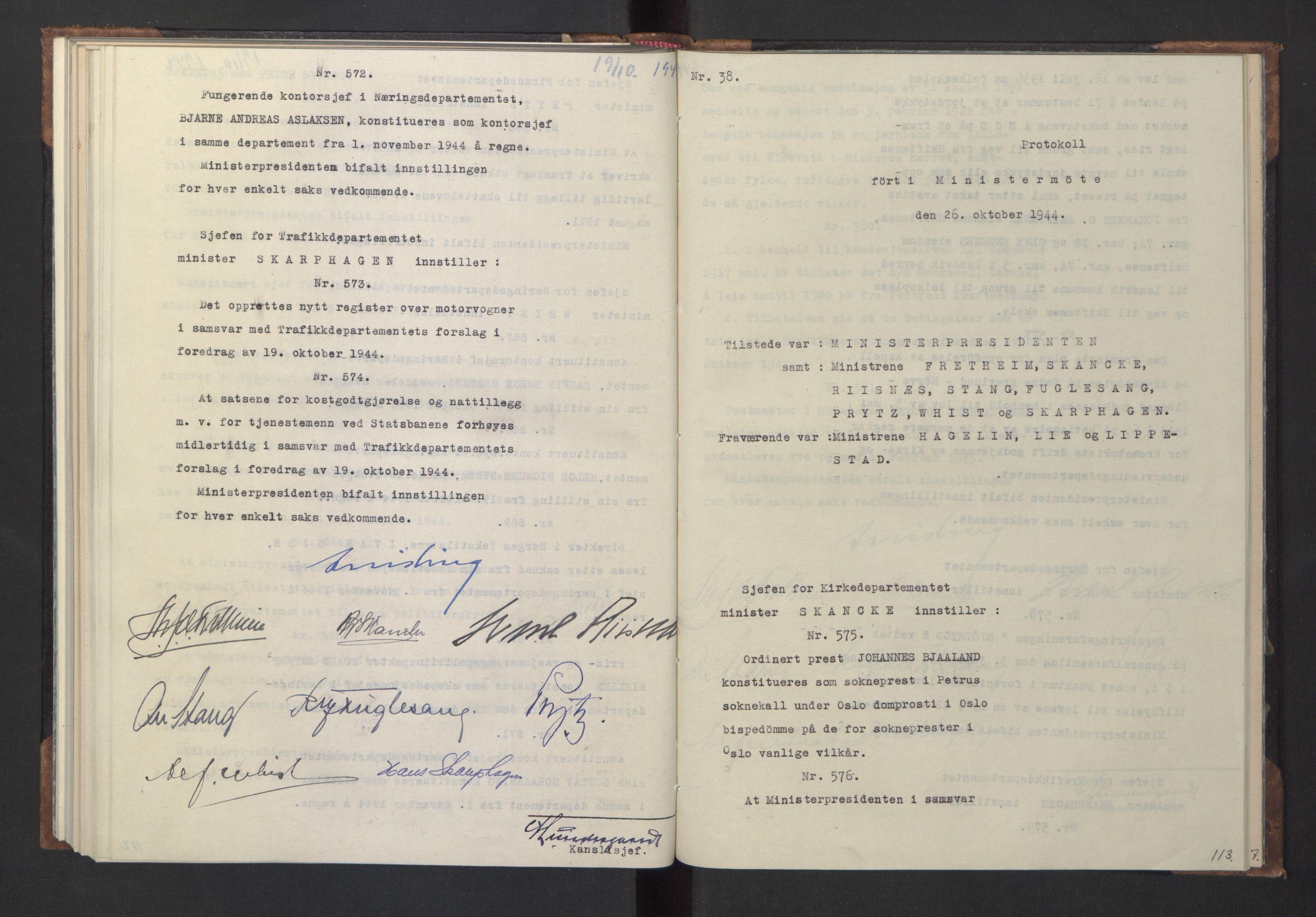 RA, NS-administrasjonen 1940-1945 (Statsrådsekretariatet, de kommisariske statsråder mm), D/Da/L0005: Protokoll fra ministermøter, 1944, s. 112b-113a