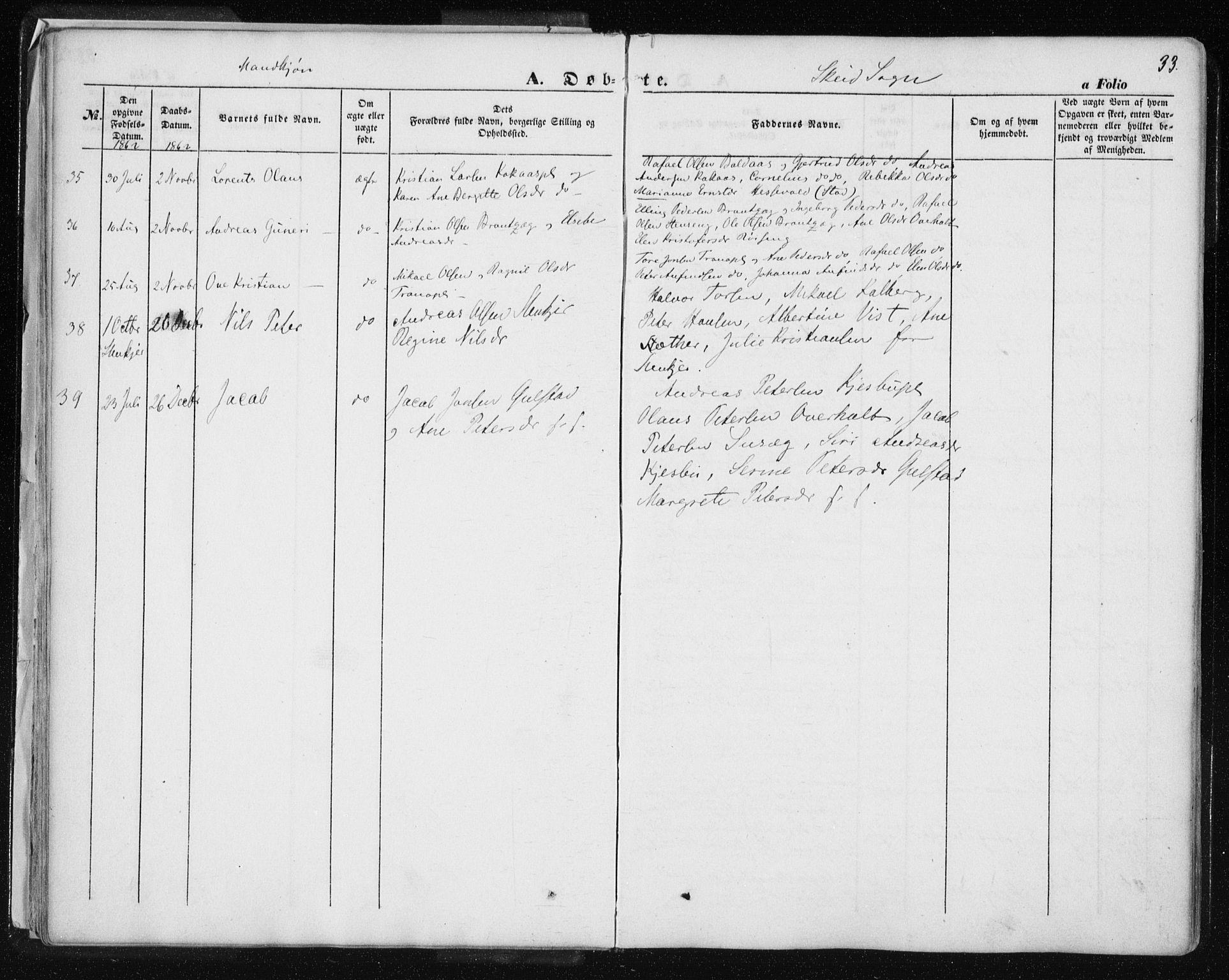 SAT, Ministerialprotokoller, klokkerbøker og fødselsregistre - Nord-Trøndelag, 735/L0342: Ministerialbok nr. 735A07 /2, 1849-1862, s. 33
