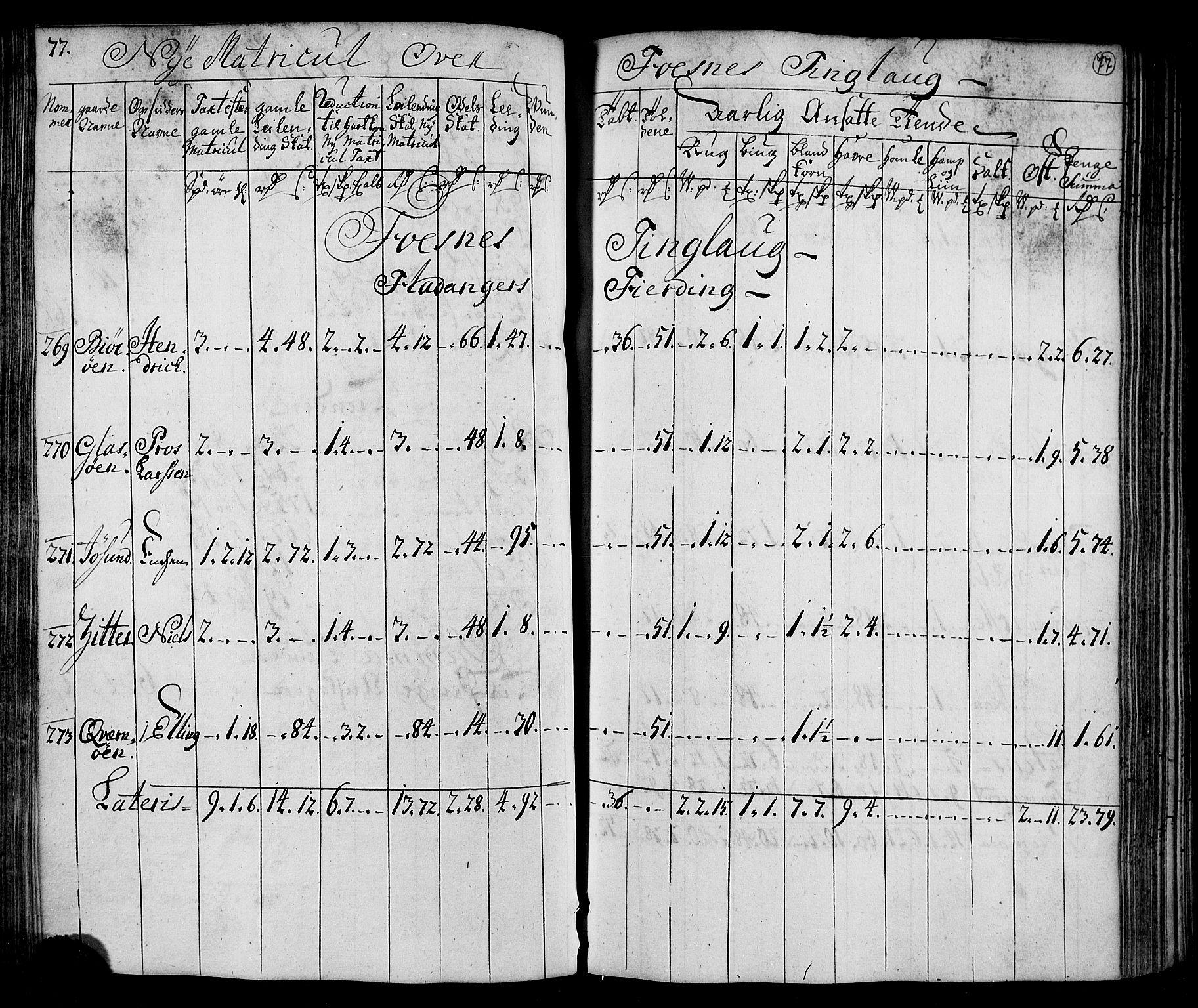 RA, Rentekammeret inntil 1814, Realistisk ordnet avdeling, N/Nb/Nbf/L0169: Namdalen matrikkelprotokoll, 1723, s. 76b-77a