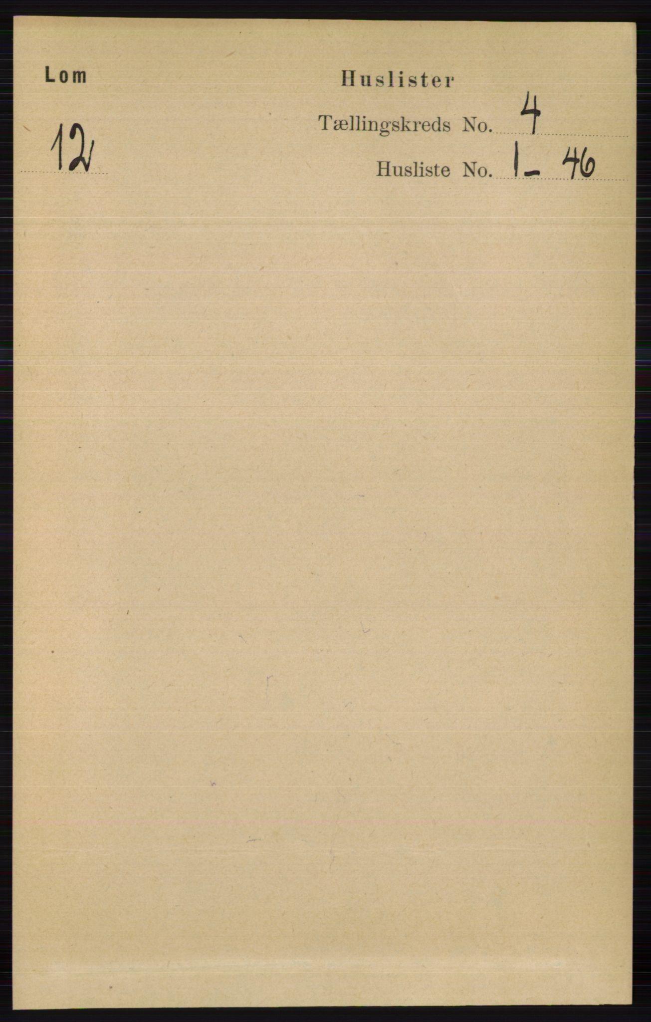 RA, Folketelling 1891 for 0514 Lom herred, 1891, s. 1455
