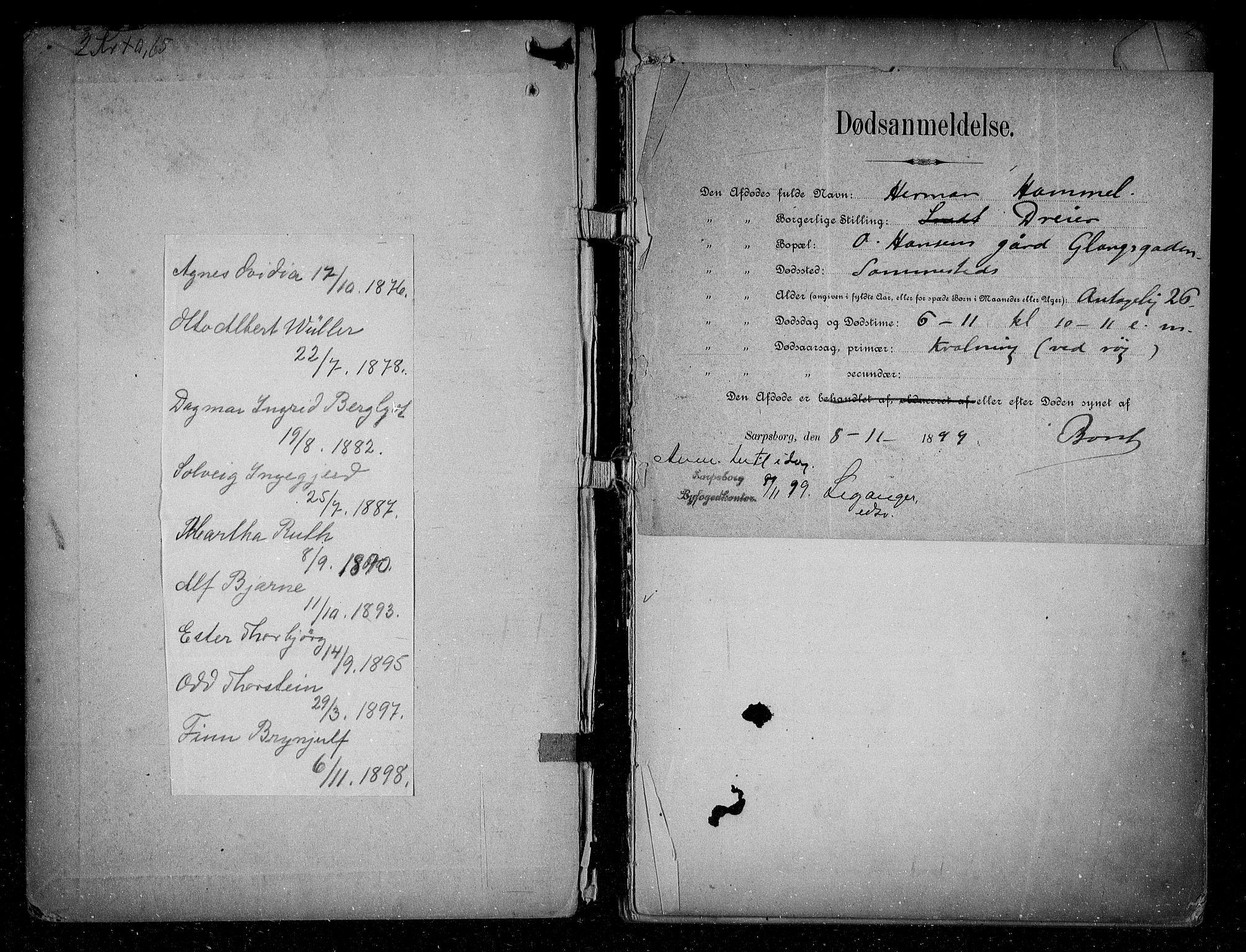 SAO, Sarpsborg byfogd, H/Ha/Haa/L0001: Dødsfallsprotokoll, 1880-1904