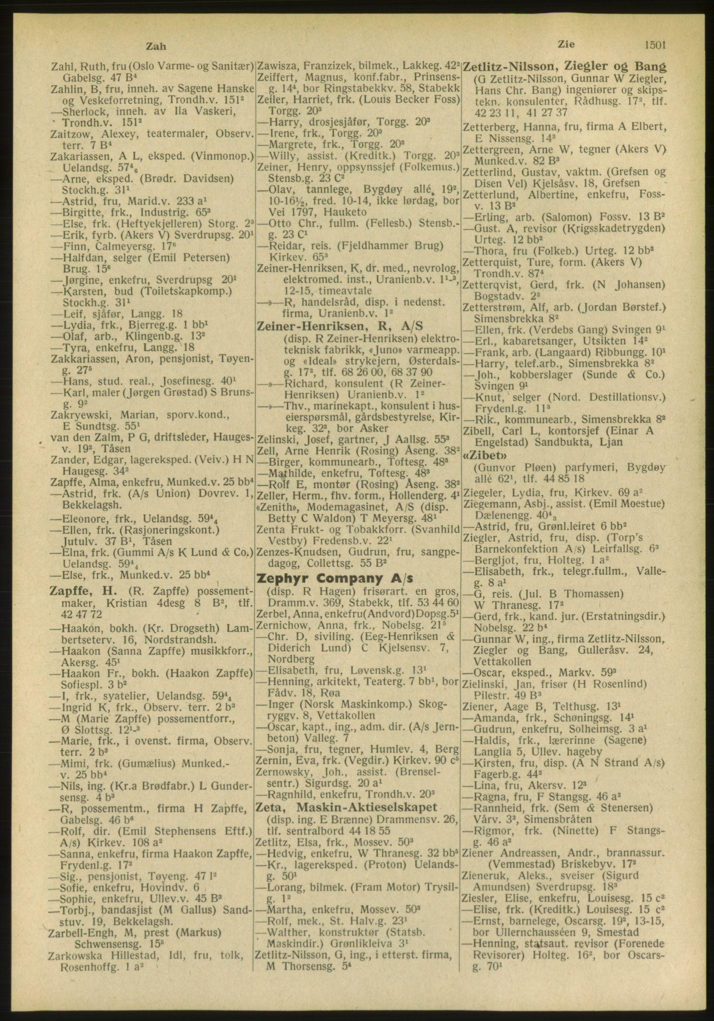 PUBL, Kristiania/Oslo adressebok, 1951, s. 1501