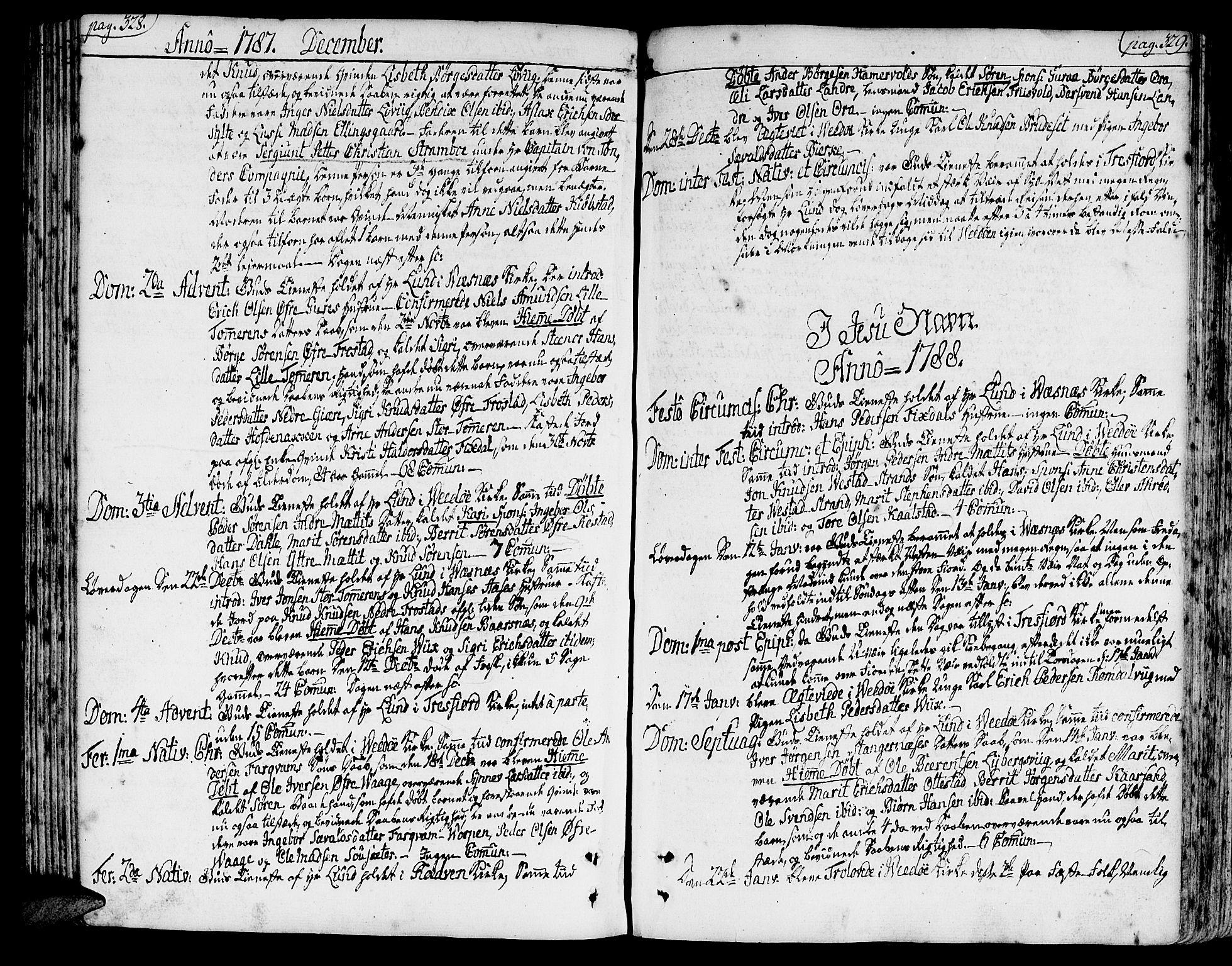 SAT, Ministerialprotokoller, klokkerbøker og fødselsregistre - Møre og Romsdal, 547/L0600: Ministerialbok nr. 547A02, 1765-1799, s. 328-329