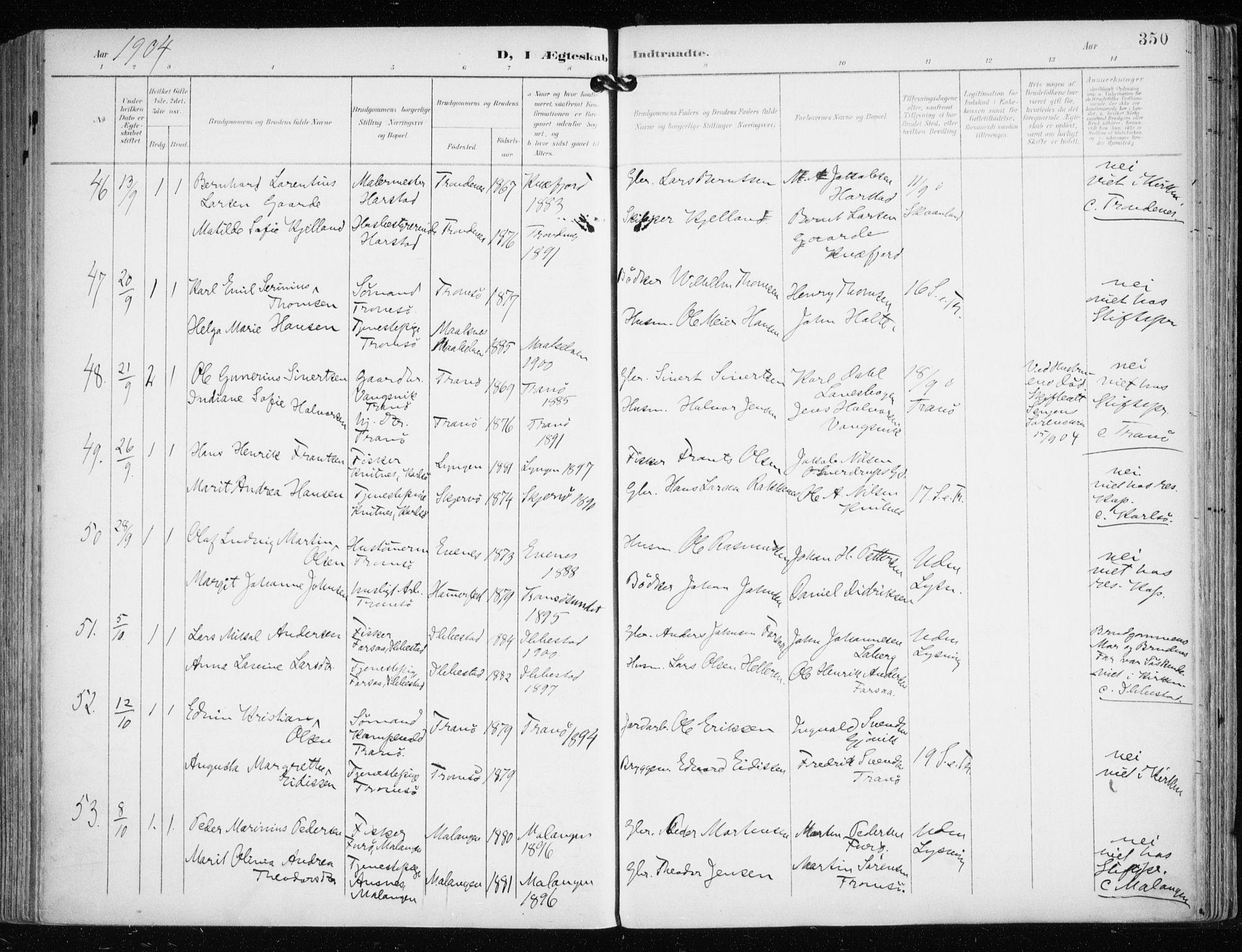 SATØ, Tromsø sokneprestkontor/stiftsprosti/domprosti, G/Ga/L0016kirke: Ministerialbok nr. 16, 1899-1906, s. 350