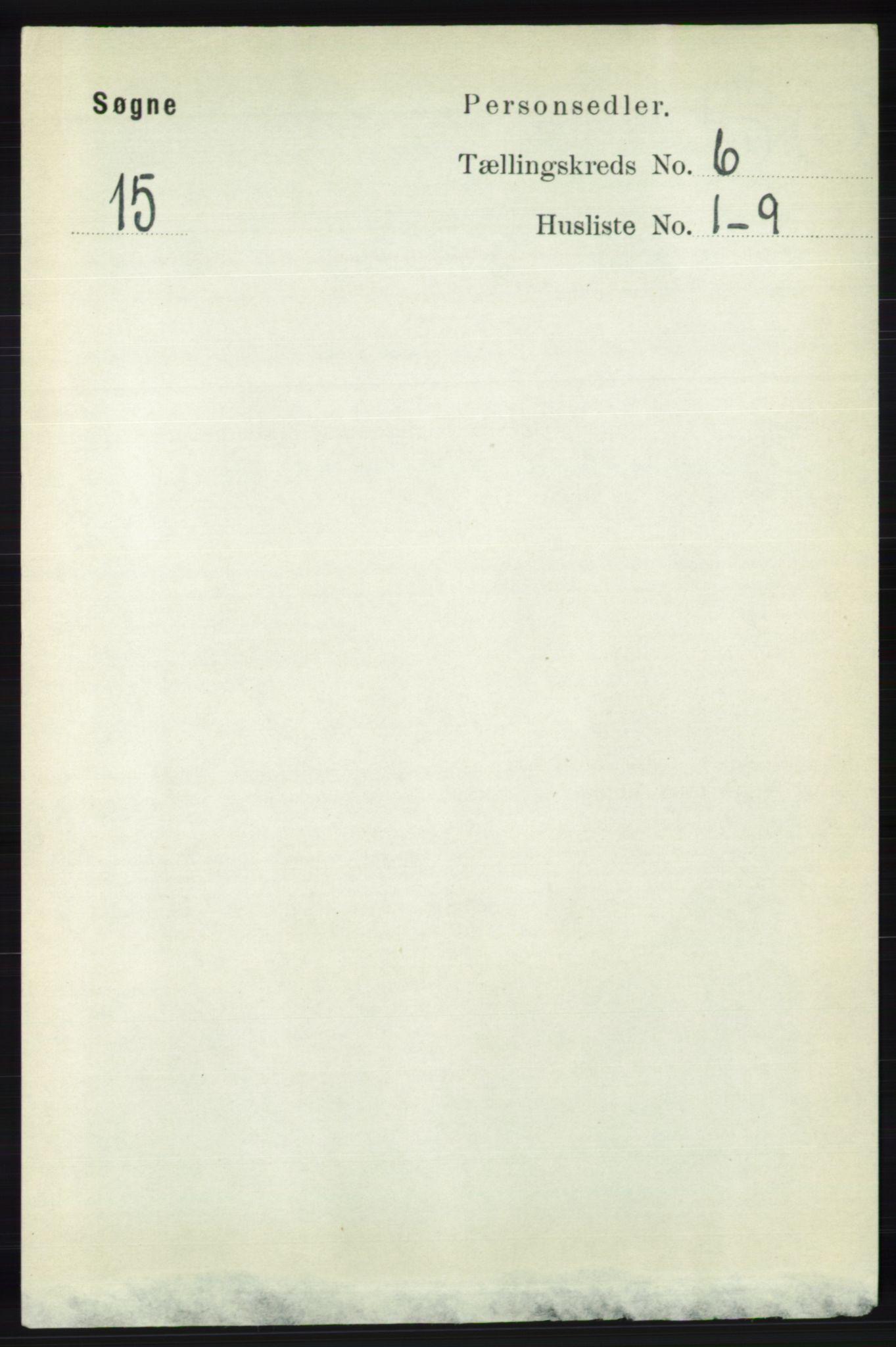 RA, Folketelling 1891 for 1018 Søgne herred, 1891, s. 1366