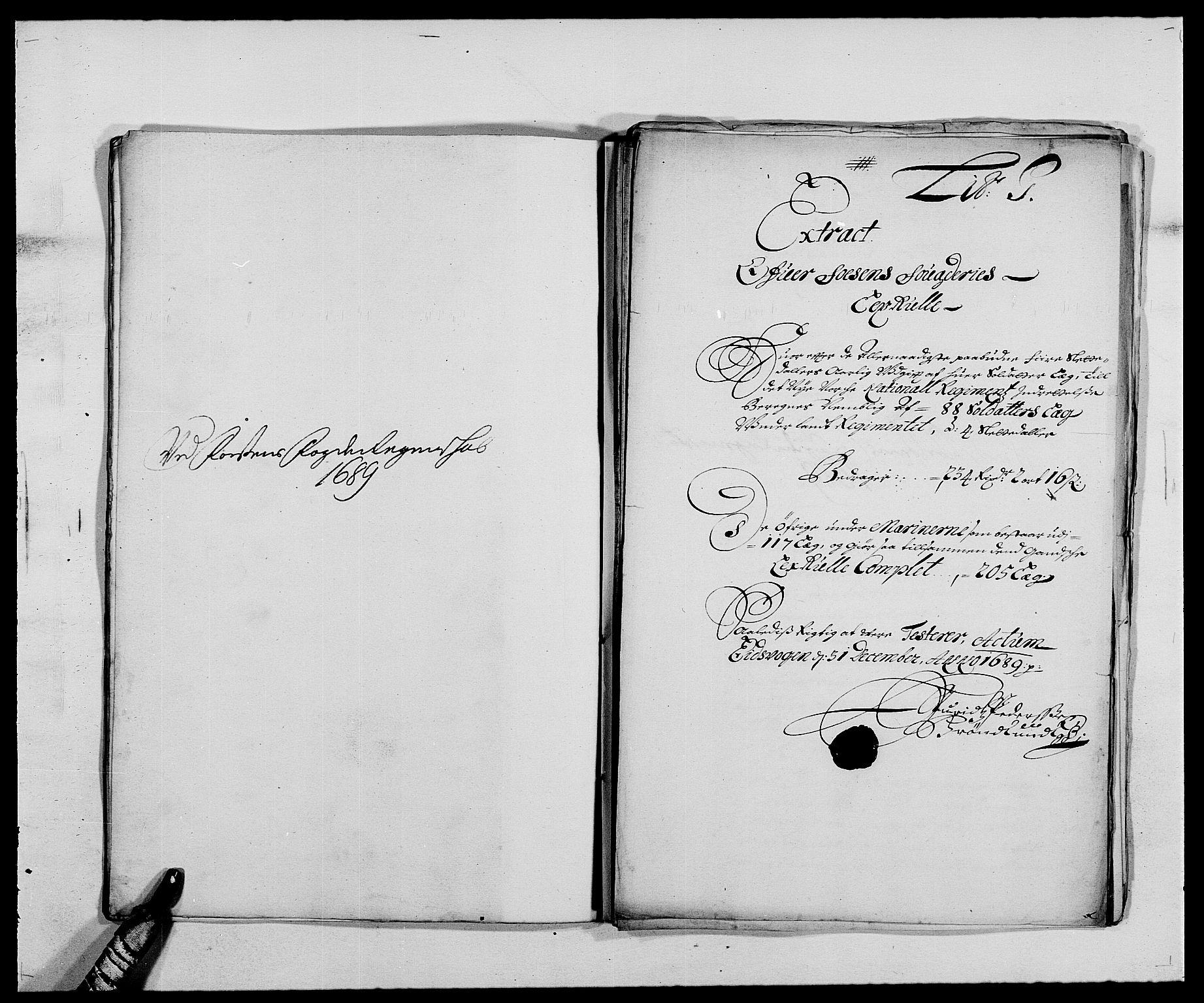 RA, Rentekammeret inntil 1814, Reviderte regnskaper, Fogderegnskap, R57/L3847: Fogderegnskap Fosen, 1689, s. 62