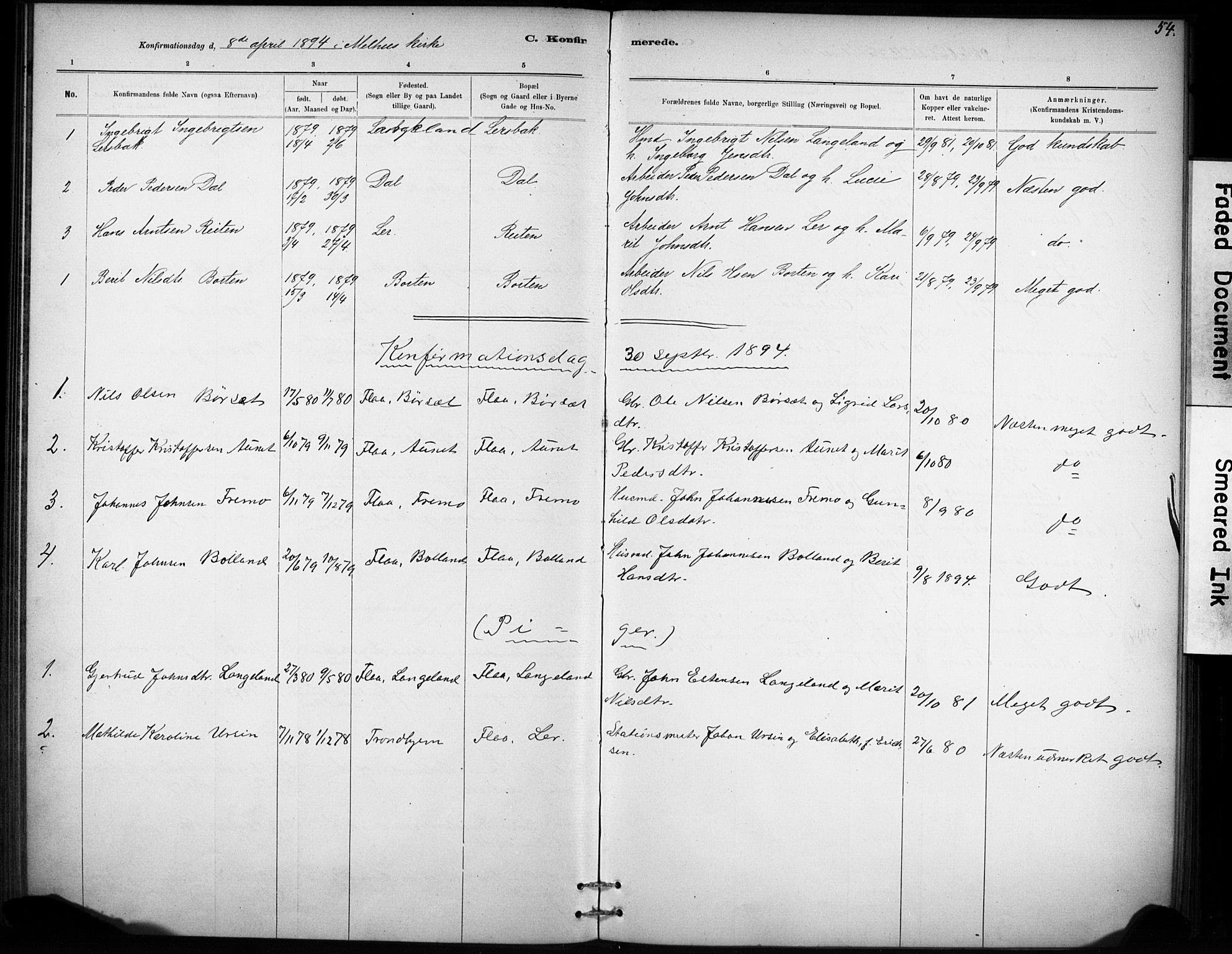 SAT, Ministerialprotokoller, klokkerbøker og fødselsregistre - Sør-Trøndelag, 693/L1119: Ministerialbok nr. 693A01, 1887-1905, s. 54