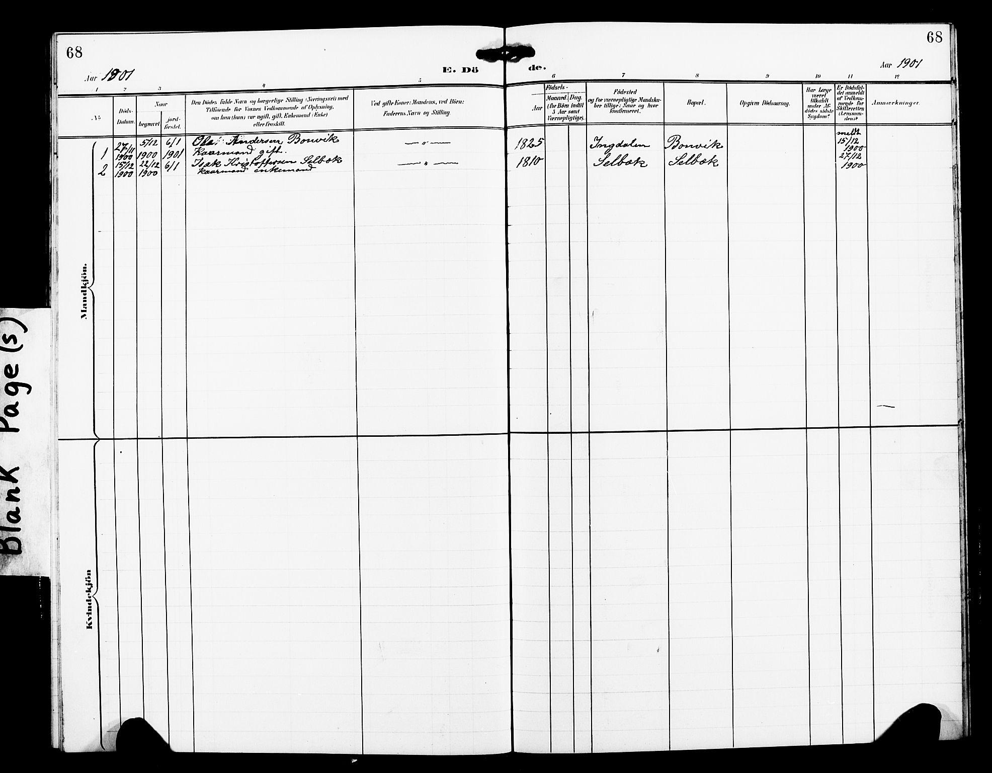 SAT, Ministerialprotokoller, klokkerbøker og fødselsregistre - Sør-Trøndelag, 663/L0763: Klokkerbok nr. 663C03, 1899-1908, s. 68