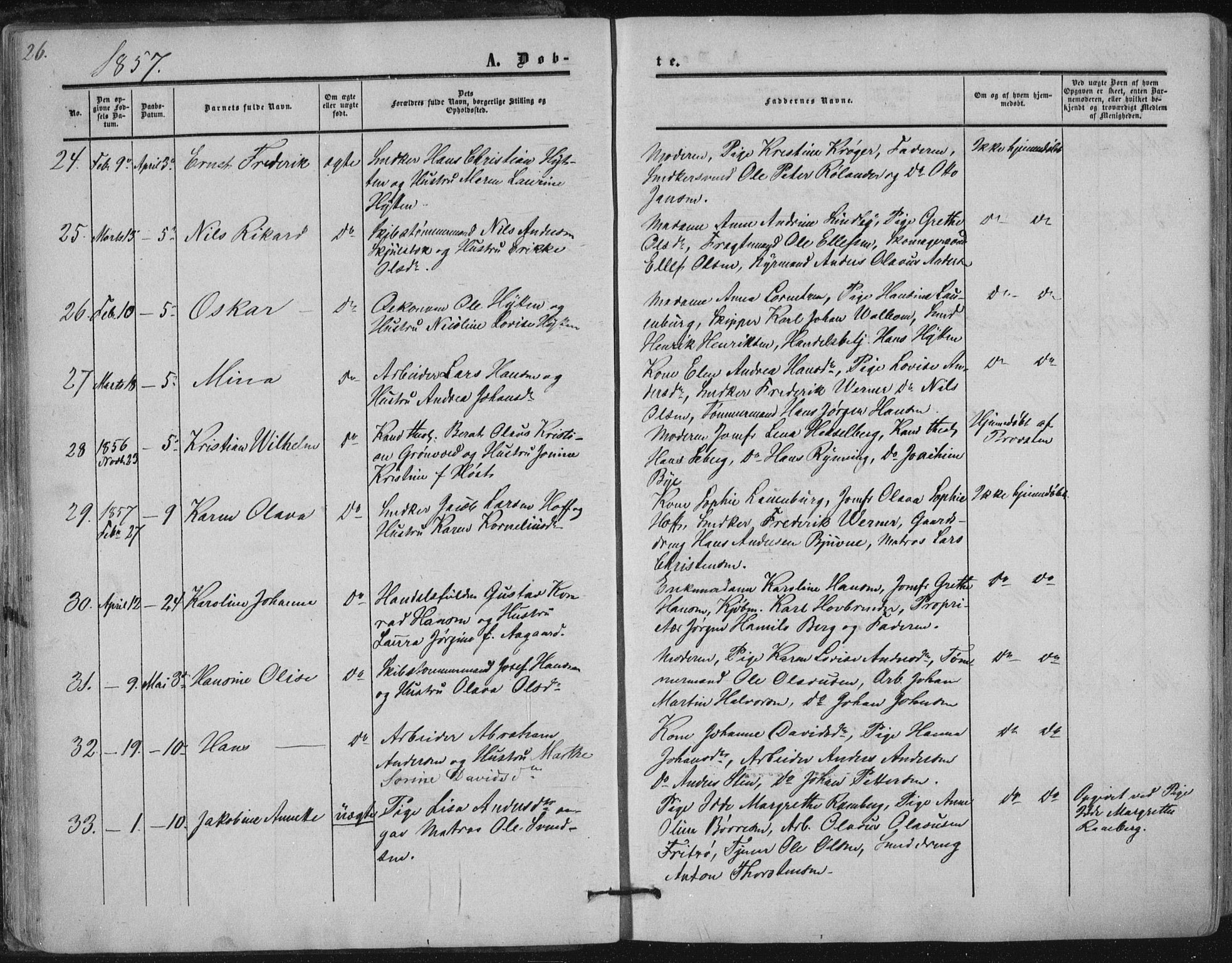 SAKO, Tønsberg kirkebøker, F/Fa/L0008: Ministerialbok nr. I 8, 1855-1864, s. 26