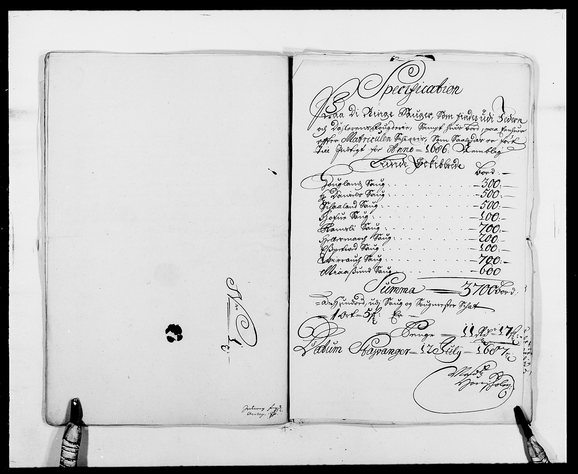 RA, Rentekammeret inntil 1814, Reviderte regnskaper, Fogderegnskap, R46/L2726: Fogderegnskap Jæren og Dalane, 1686-1689, s. 121
