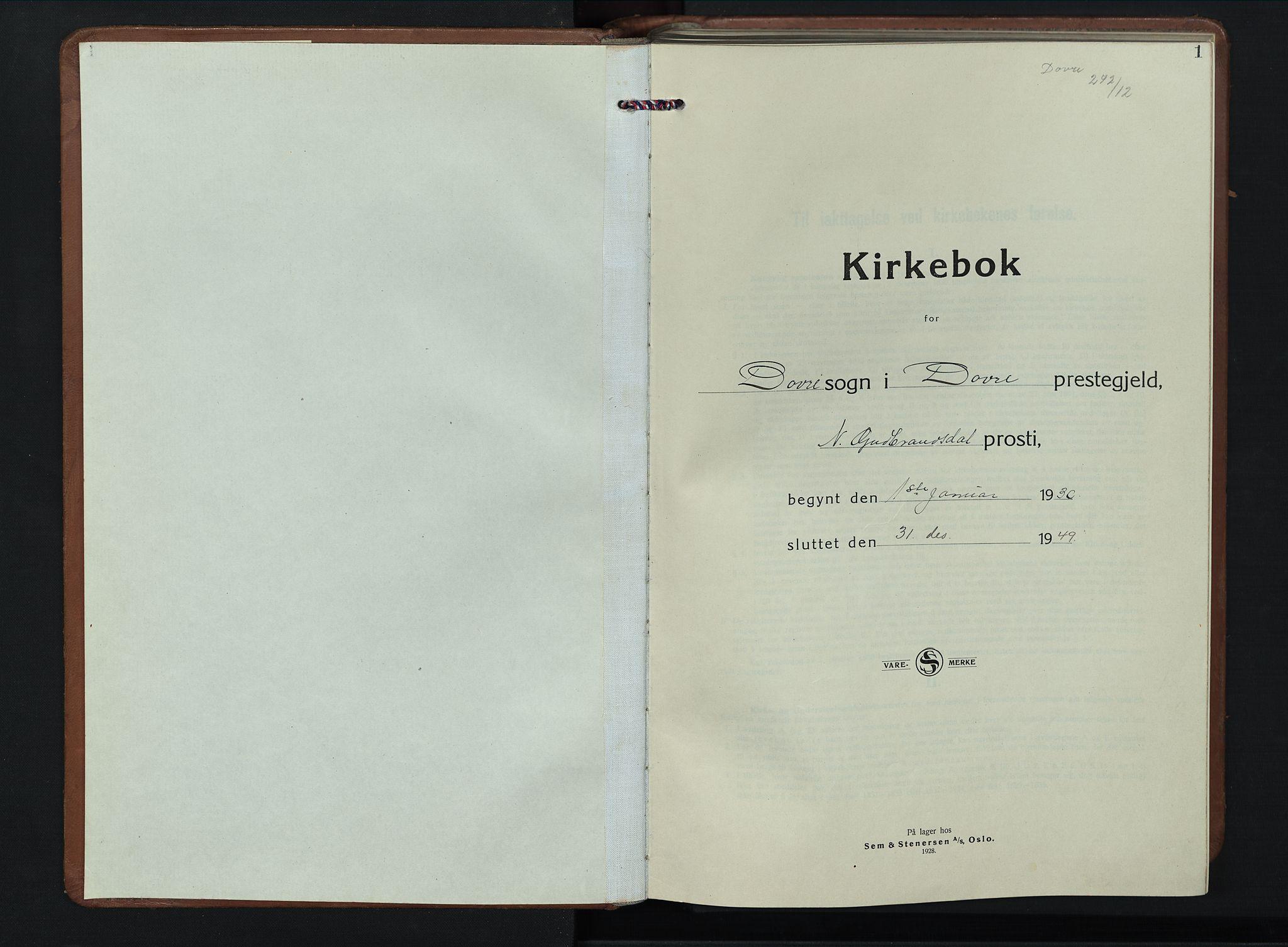 SAH, Dovre prestekontor, Klokkerbok nr. 4, 1926-1949, s. 1