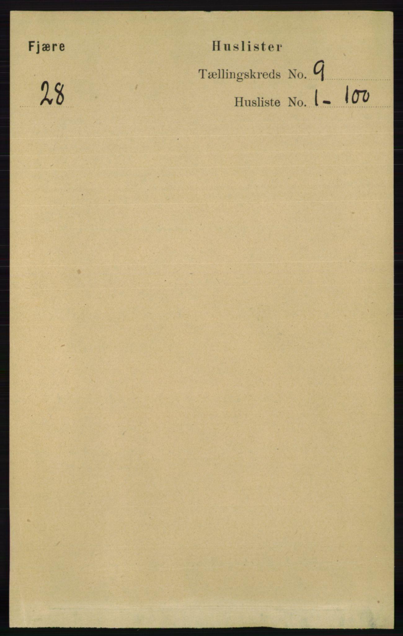 RA, Folketelling 1891 for 0923 Fjære herred, 1891, s. 4097