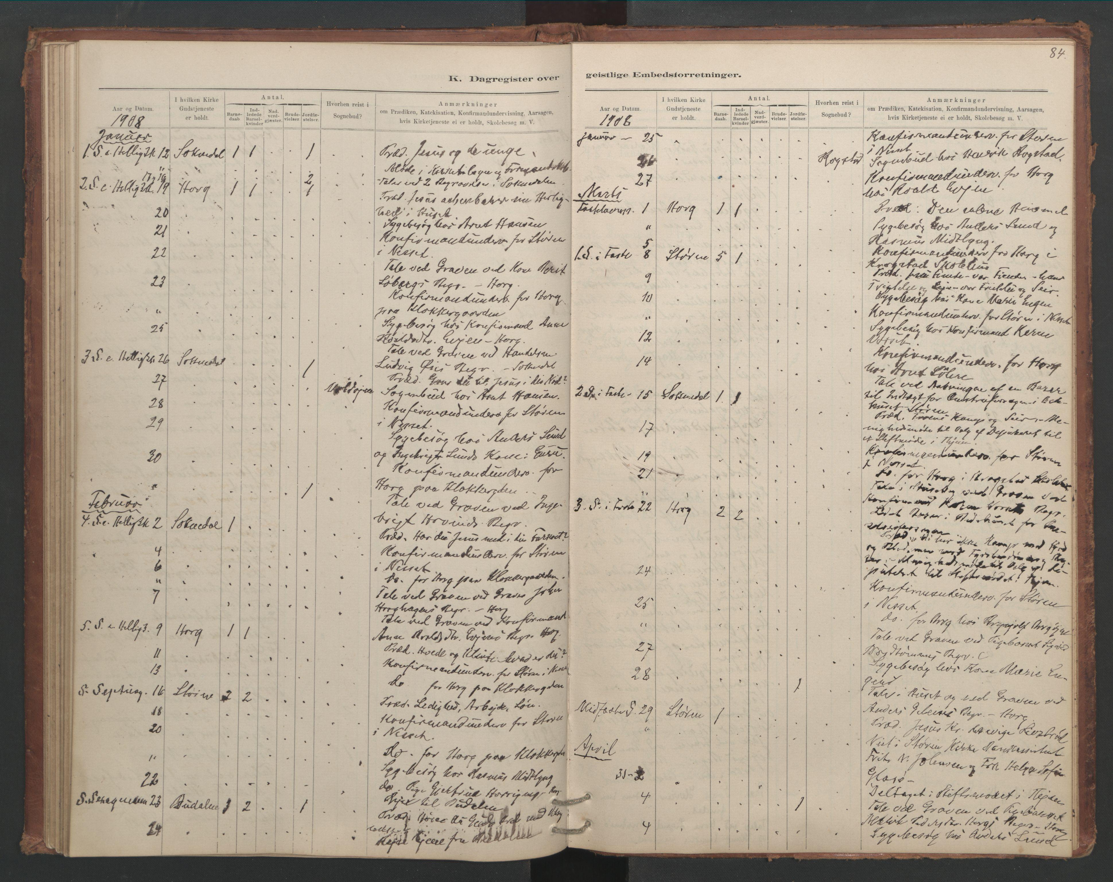 SAT, Ministerialprotokoller, klokkerbøker og fødselsregistre - Sør-Trøndelag, 687/L1012: Dagregister nr. 687B01, 1887-1914, s. 84