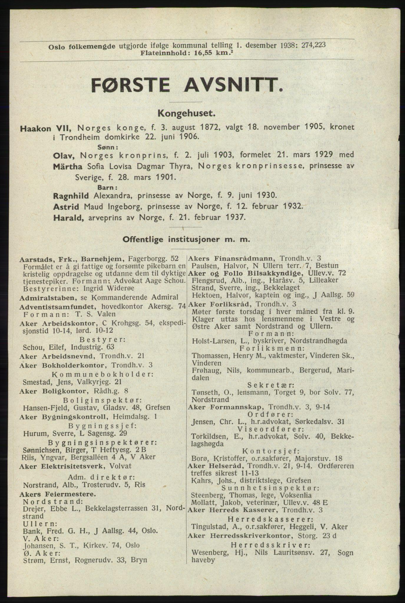RA, Oslo adressebok (publikasjon)*, 1940, s. 1