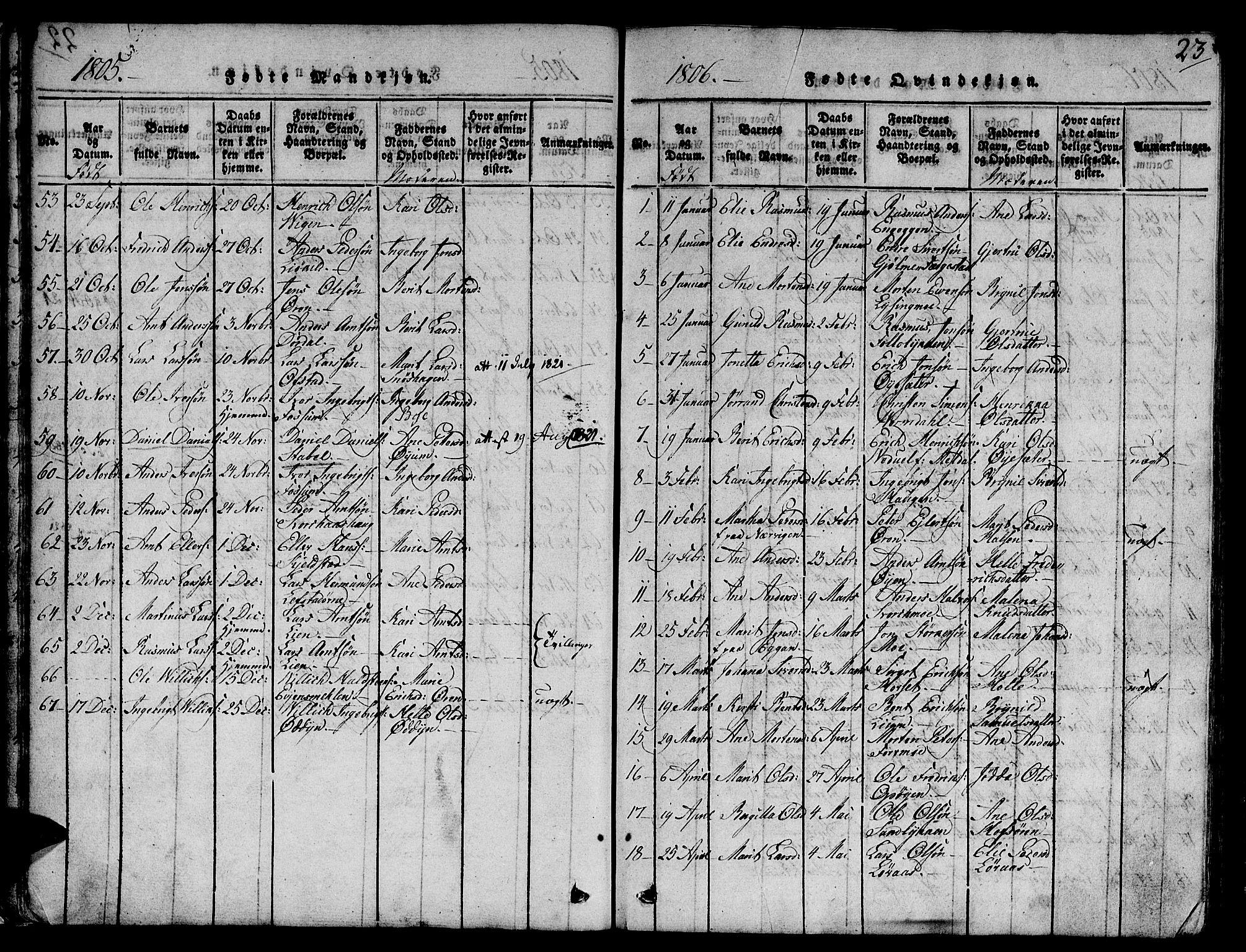 SAT, Ministerialprotokoller, klokkerbøker og fødselsregistre - Sør-Trøndelag, 668/L0803: Ministerialbok nr. 668A03, 1800-1826, s. 23