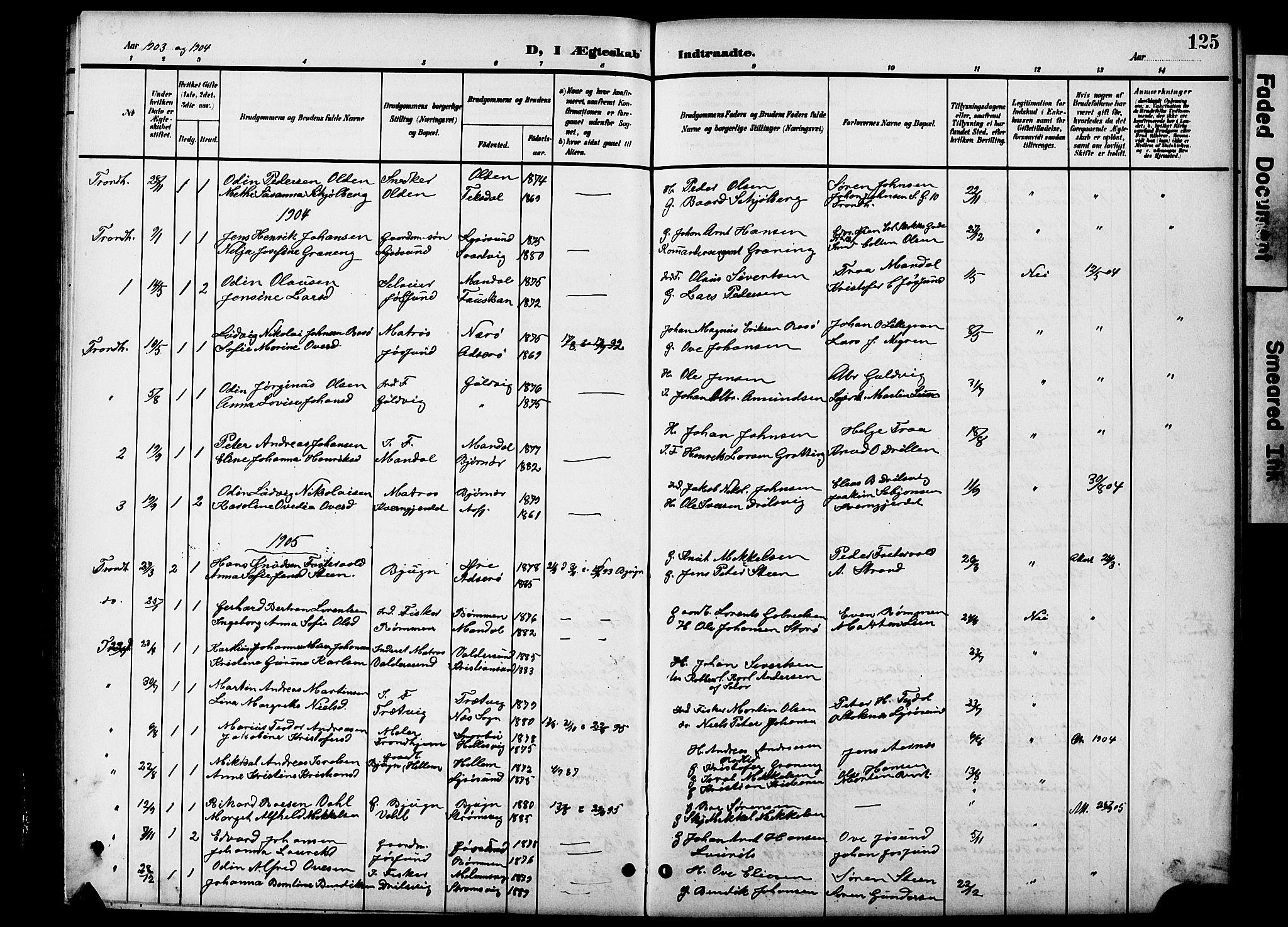 SAT, Ministerialprotokoller, klokkerbøker og fødselsregistre - Sør-Trøndelag, 654/L0666: Klokkerbok nr. 654C02, 1901-1925, s. 125