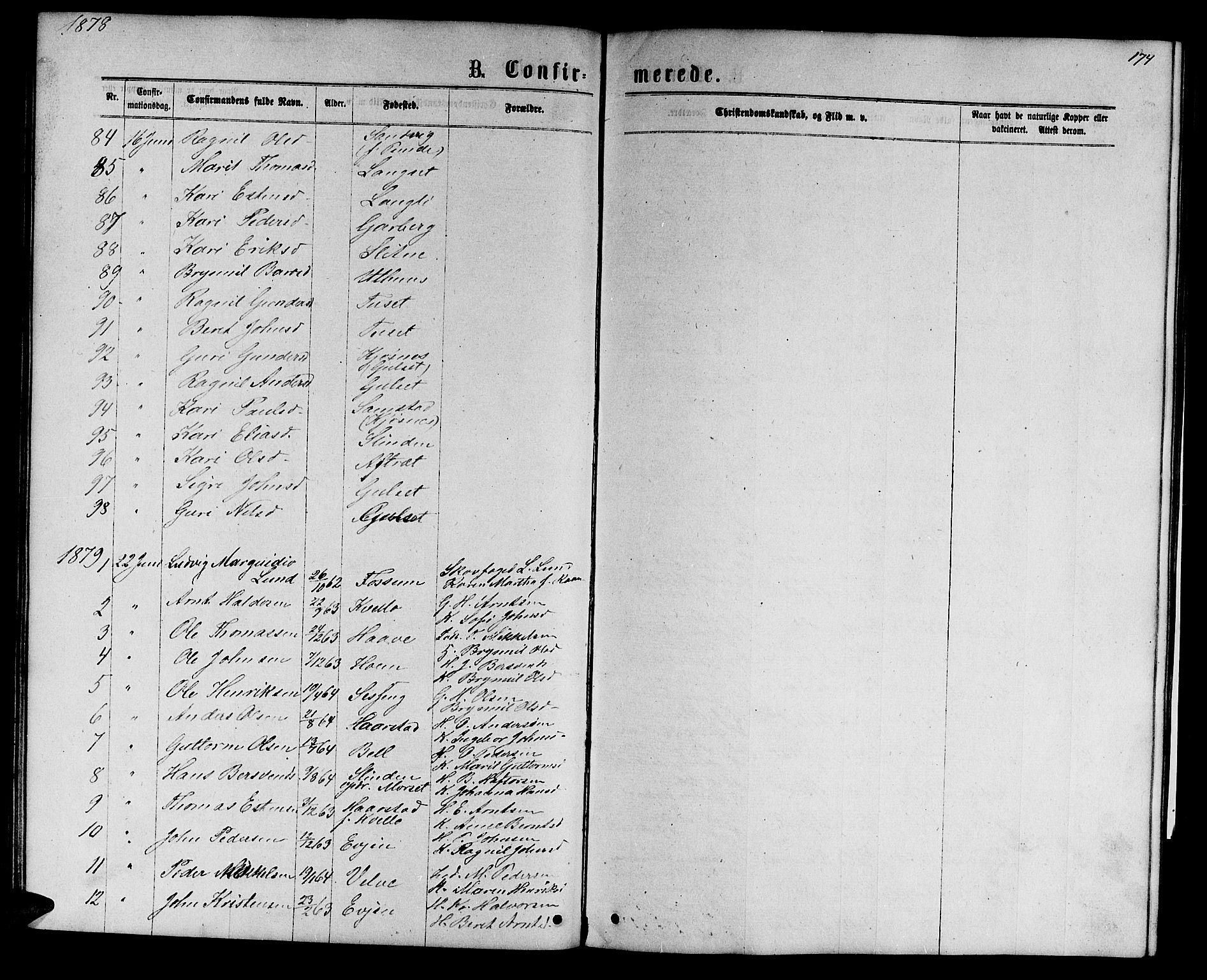 SAT, Ministerialprotokoller, klokkerbøker og fødselsregistre - Sør-Trøndelag, 695/L1156: Klokkerbok nr. 695C07, 1869-1888, s. 174