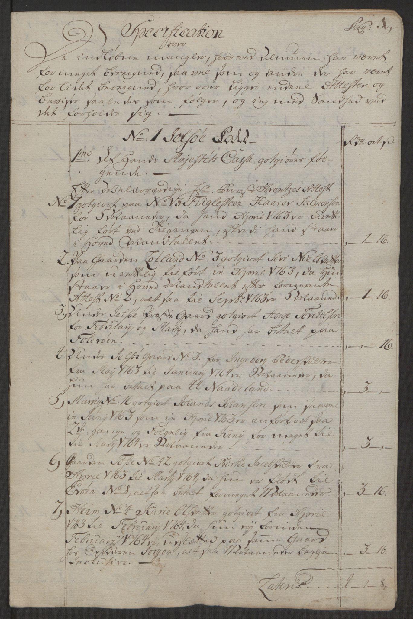 RA, Rentekammeret inntil 1814, Realistisk ordnet avdeling, Ol/L0016b: [Gg 10]: Ekstraskatten, 23.09.1762. Ryfylke, 1764-1768, s. 370