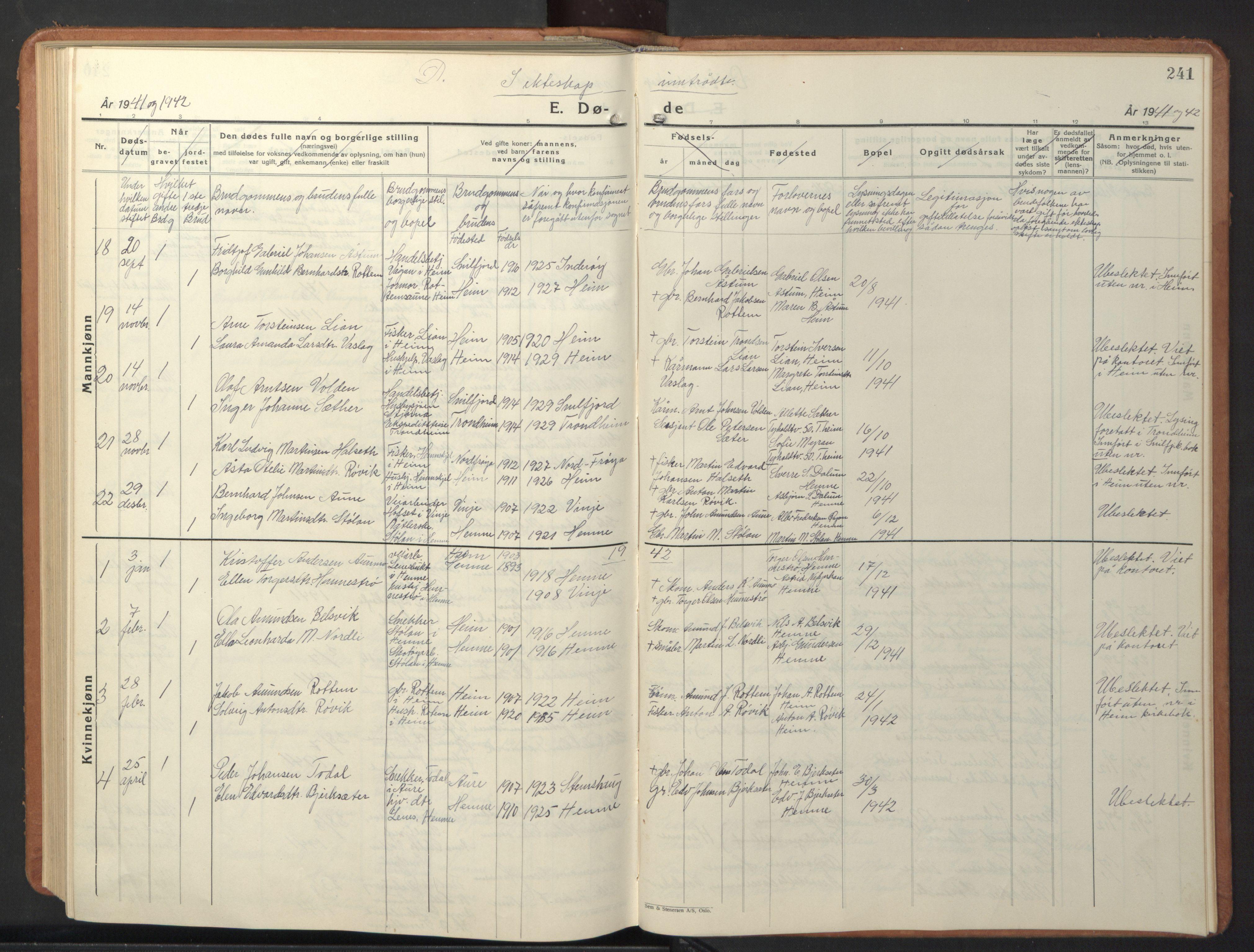 SAT, Ministerialprotokoller, klokkerbøker og fødselsregistre - Sør-Trøndelag, 630/L0508: Klokkerbok nr. 630C06, 1933-1950, s. 241