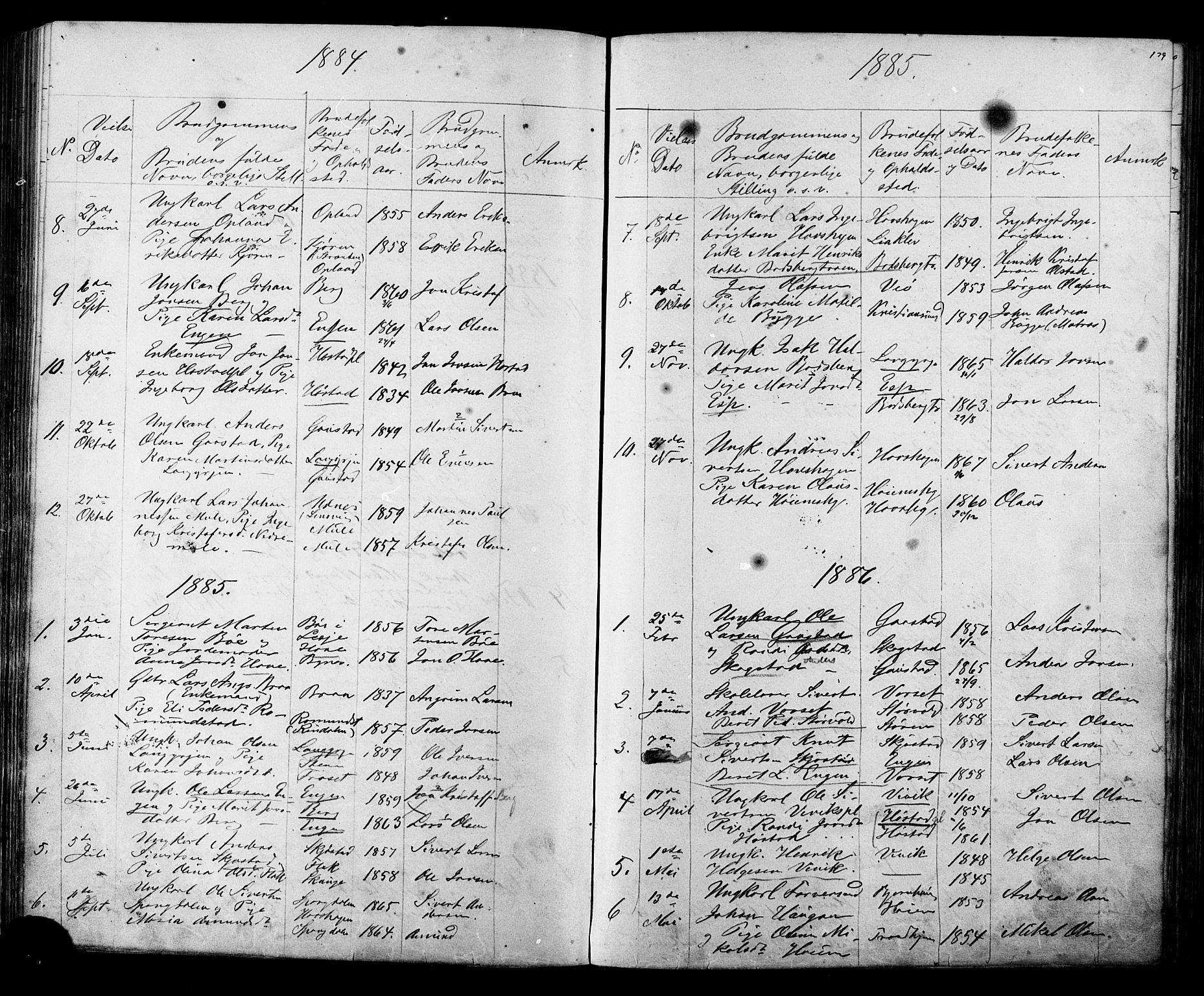 SAT, Ministerialprotokoller, klokkerbøker og fødselsregistre - Sør-Trøndelag, 612/L0387: Klokkerbok nr. 612C03, 1874-1908, s. 179