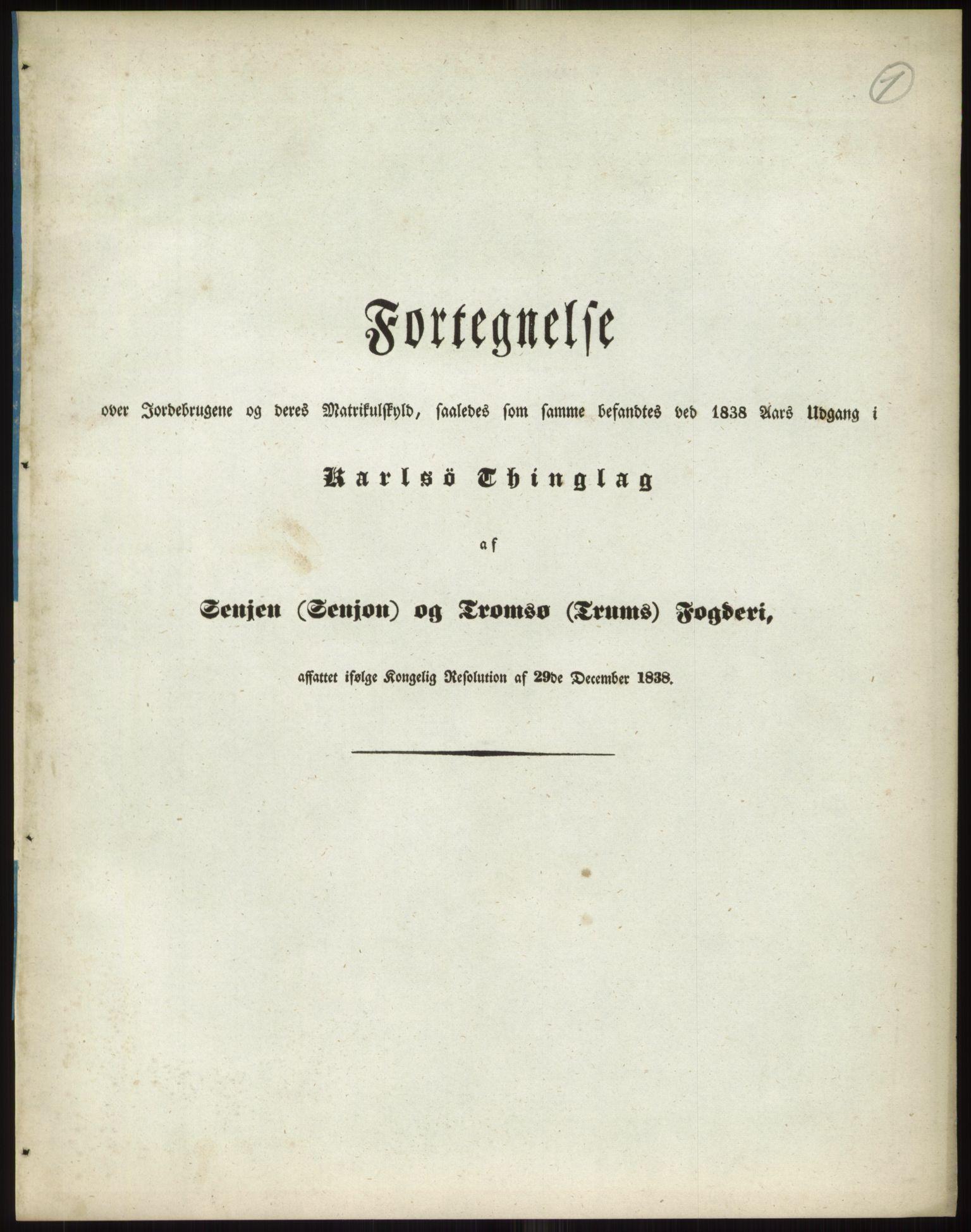 RA, 1838-matrikkelen (publikasjon)*, 1838, s. 1a