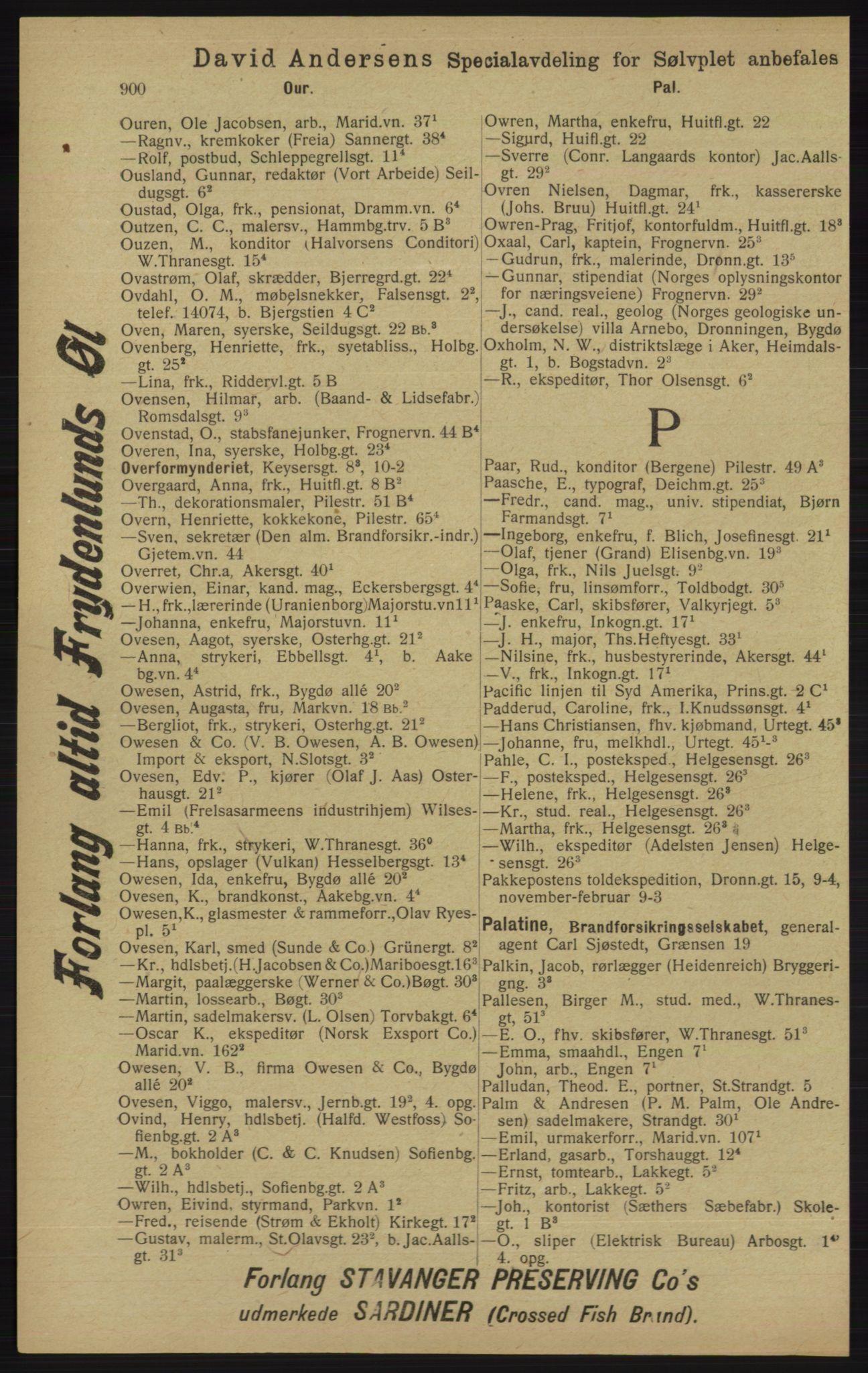 RA, Kristiania adressebok (publikasjon)*, 1913, s. 900