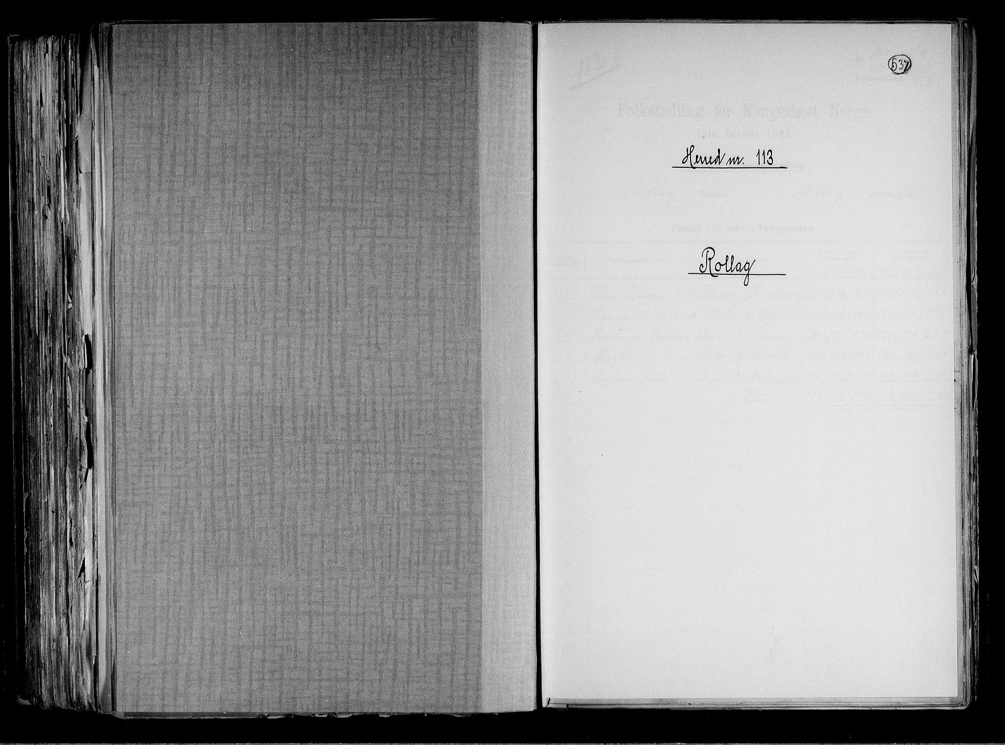 RA, Folketelling 1891 for 0632 Rollag herred, 1891, s. 1