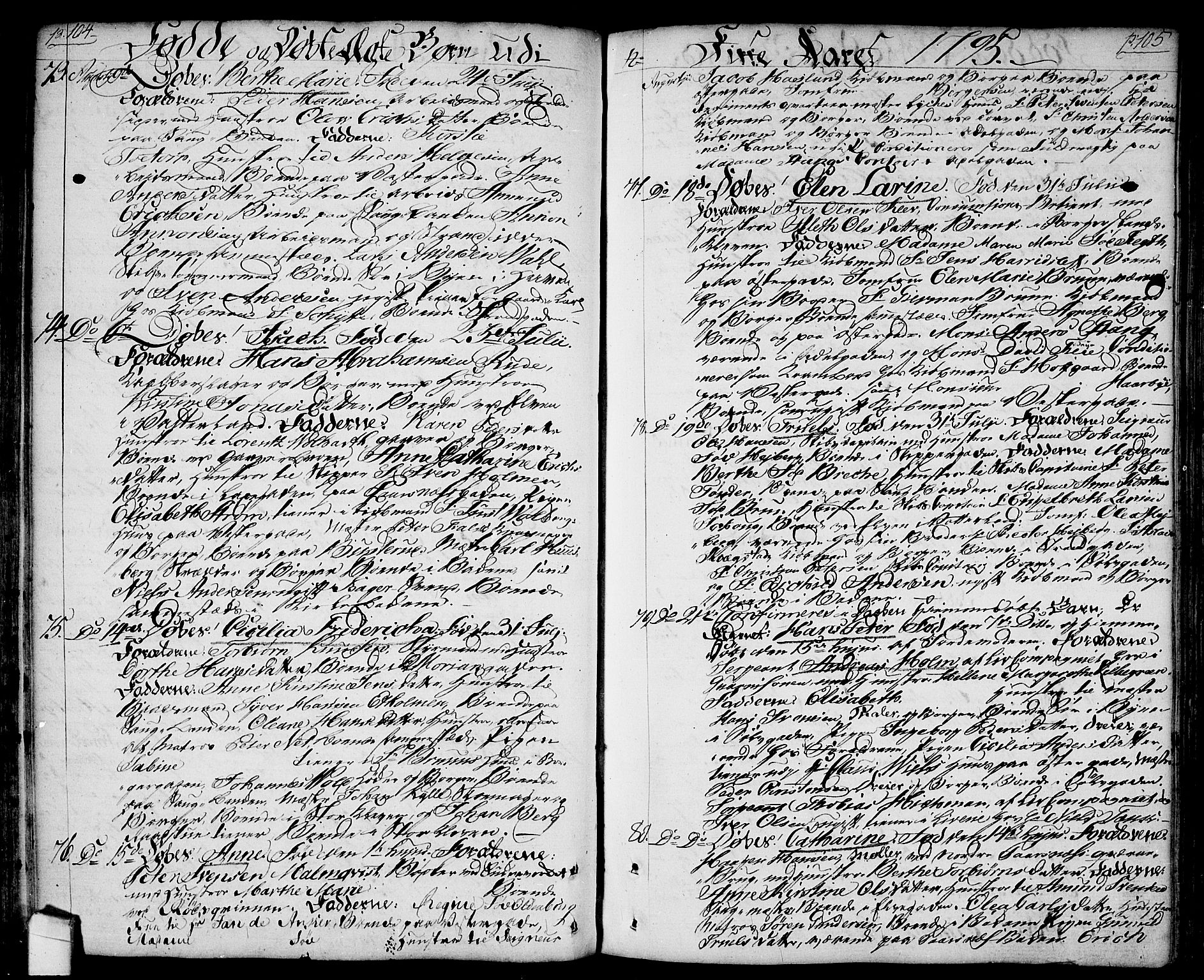 SAO, Halden prestekontor Kirkebøker, F/Fa/L0002: Ministerialbok nr. I 2, 1792-1812, s. 104-105