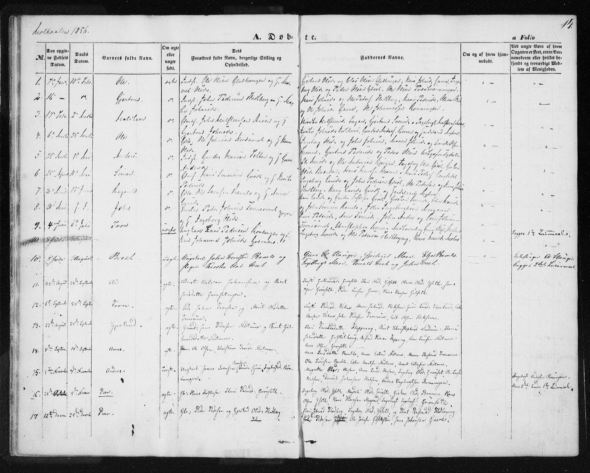 SAT, Ministerialprotokoller, klokkerbøker og fødselsregistre - Sør-Trøndelag, 685/L0963: Ministerialbok nr. 685A06 /1, 1846-1859, s. 14