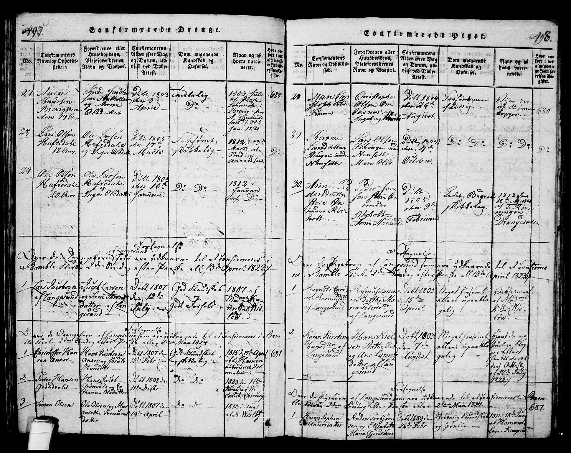 SAKO, Langesund kirkebøker, G/Ga/L0003: Klokkerbok nr. 3, 1815-1858, s. 497-498