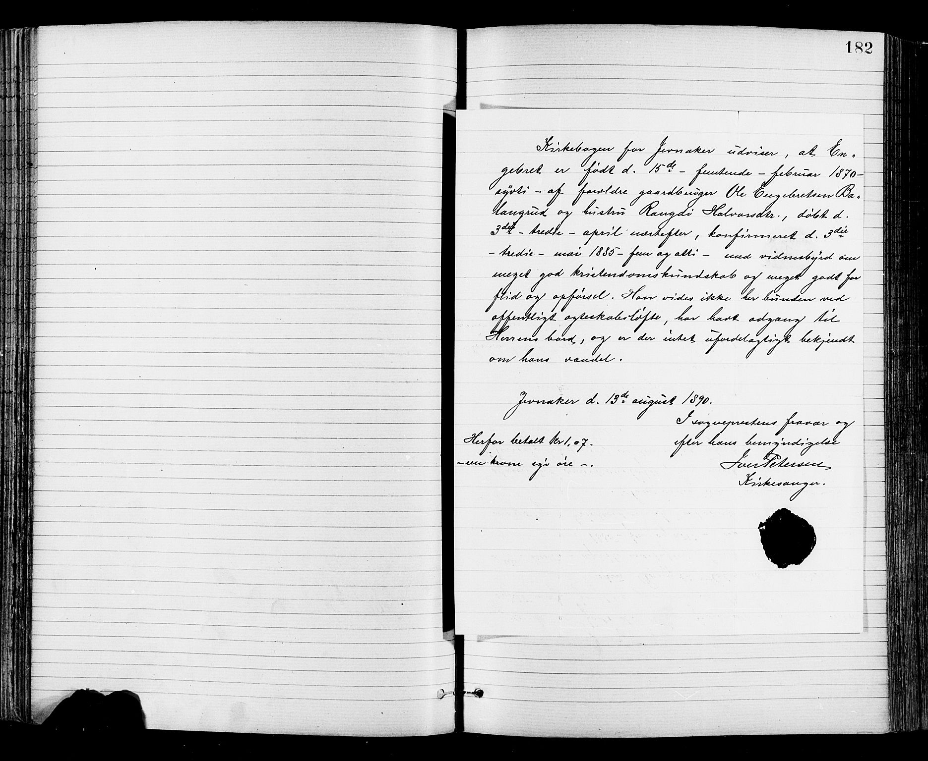 SAH, Jevnaker prestekontor, Ministerialbok nr. 8, 1877-1890, s. 182