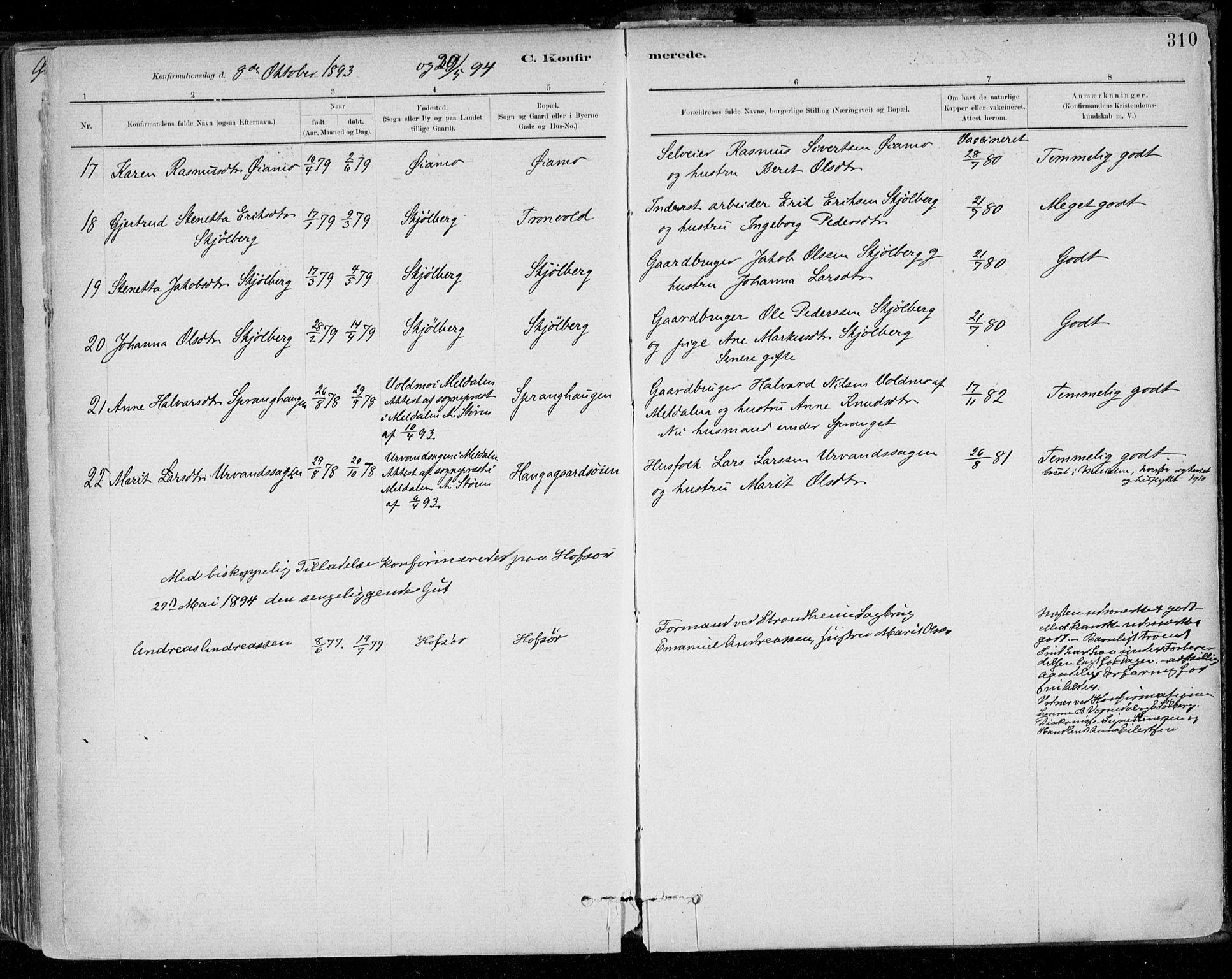 SAT, Ministerialprotokoller, klokkerbøker og fødselsregistre - Sør-Trøndelag, 668/L0809: Ministerialbok nr. 668A09, 1881-1895, s. 310