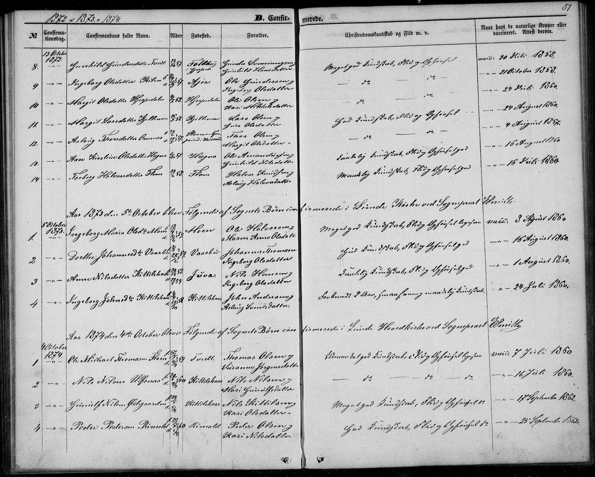 SAKO, Lunde kirkebøker, F/Fb/L0002: Ministerialbok nr. II 2, 1861-1881, s. 51
