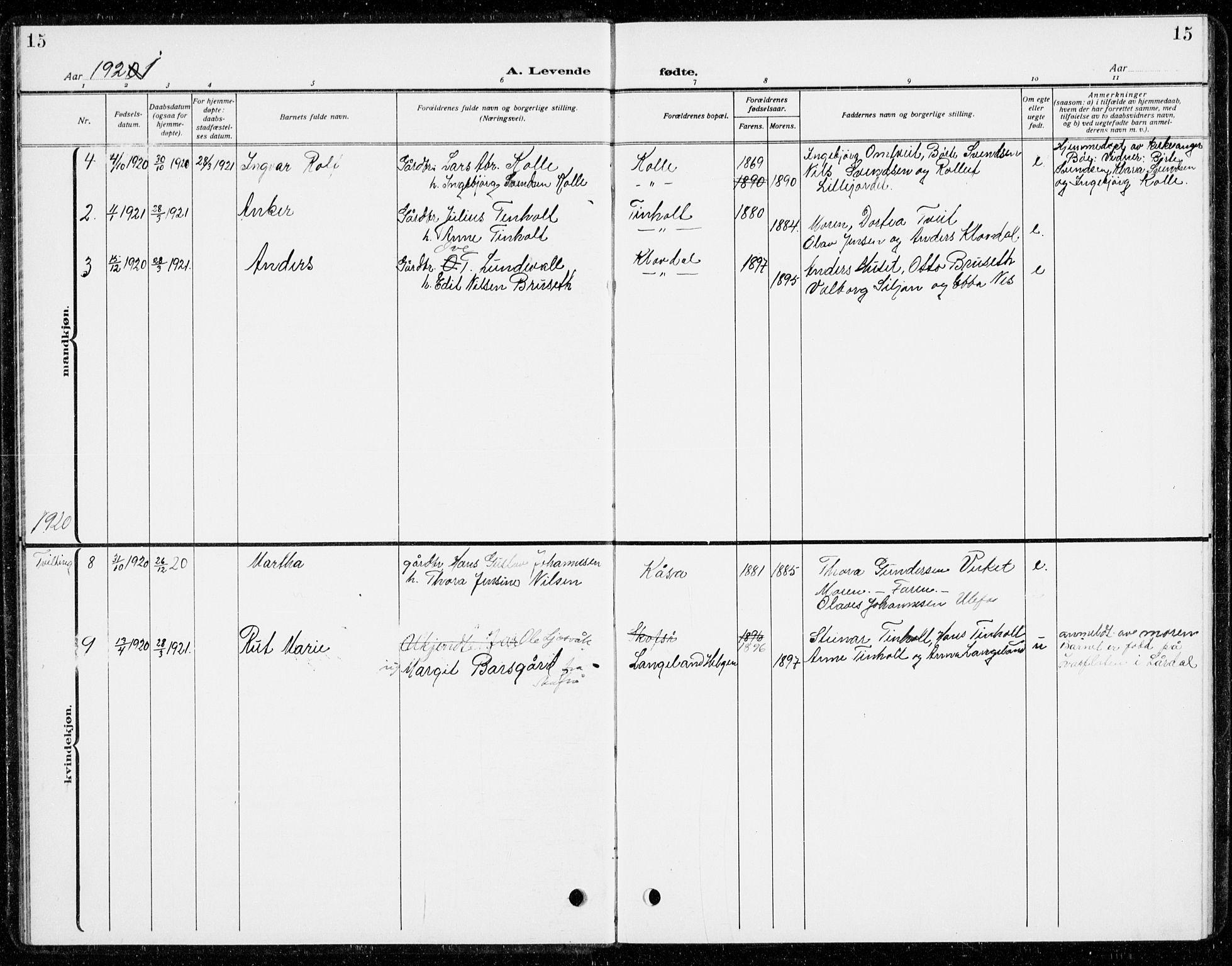 SAKO, Holla kirkebøker, G/Gb/L0003: Klokkerbok nr. II 3, 1914-1941, s. 15