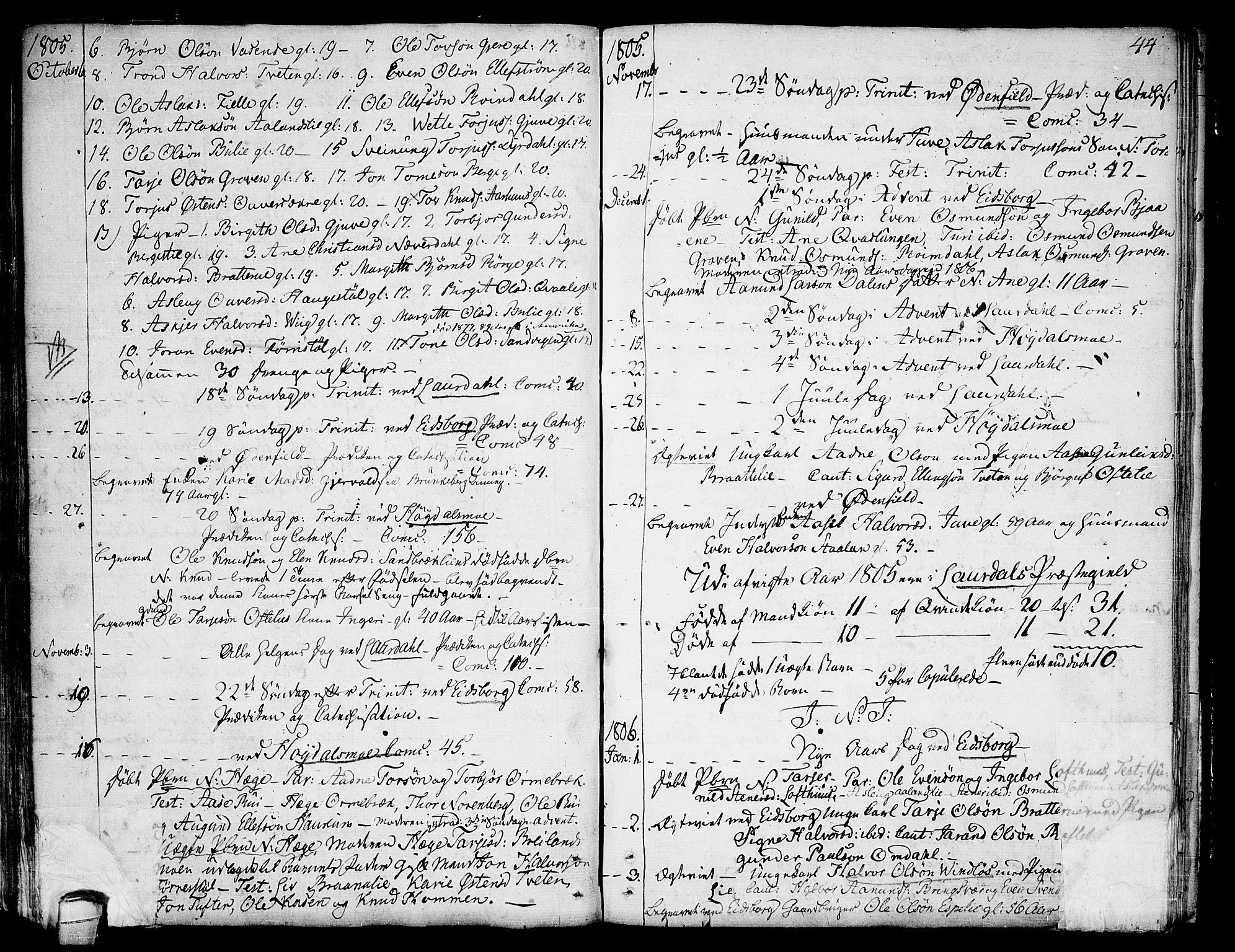 SAKO, Lårdal kirkebøker, F/Fa/L0004: Ministerialbok nr. I 4, 1790-1814, s. 44