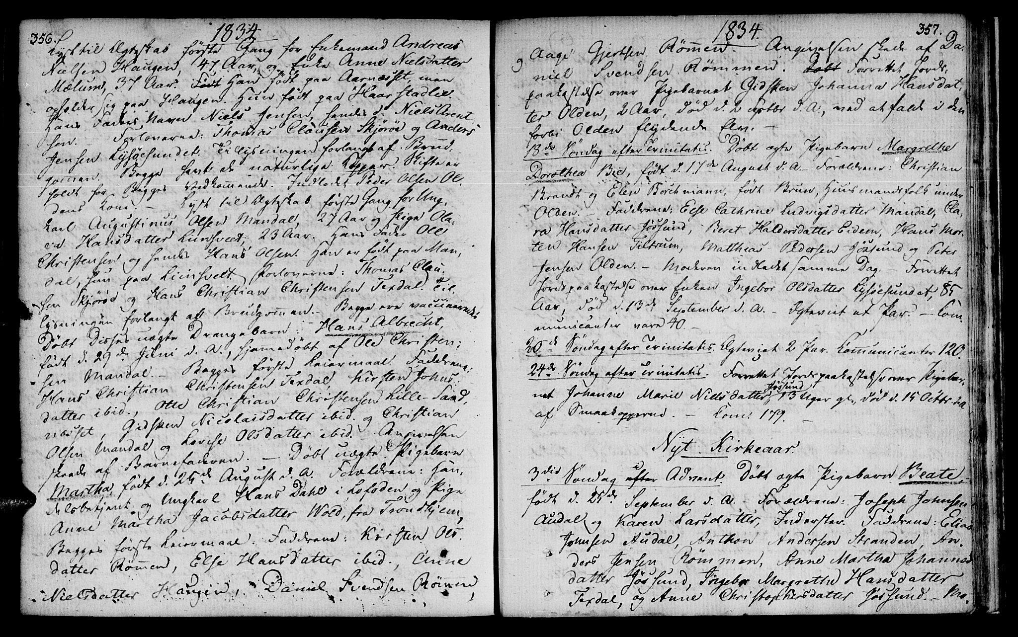 SAT, Ministerialprotokoller, klokkerbøker og fødselsregistre - Sør-Trøndelag, 655/L0674: Ministerialbok nr. 655A03, 1802-1826, s. 356-357