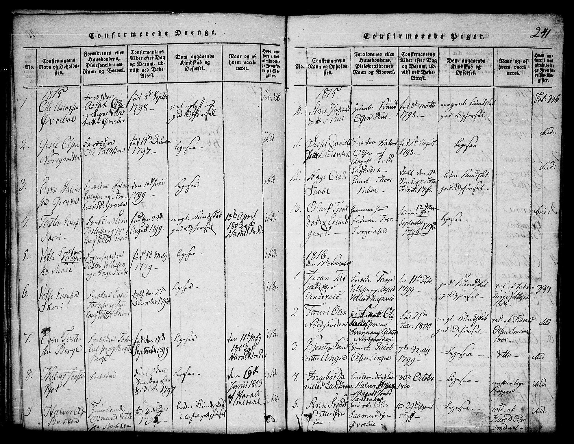 SAKO, Seljord kirkebøker, F/Fc/L0001: Ministerialbok nr. III 1, 1815-1831, s. 241