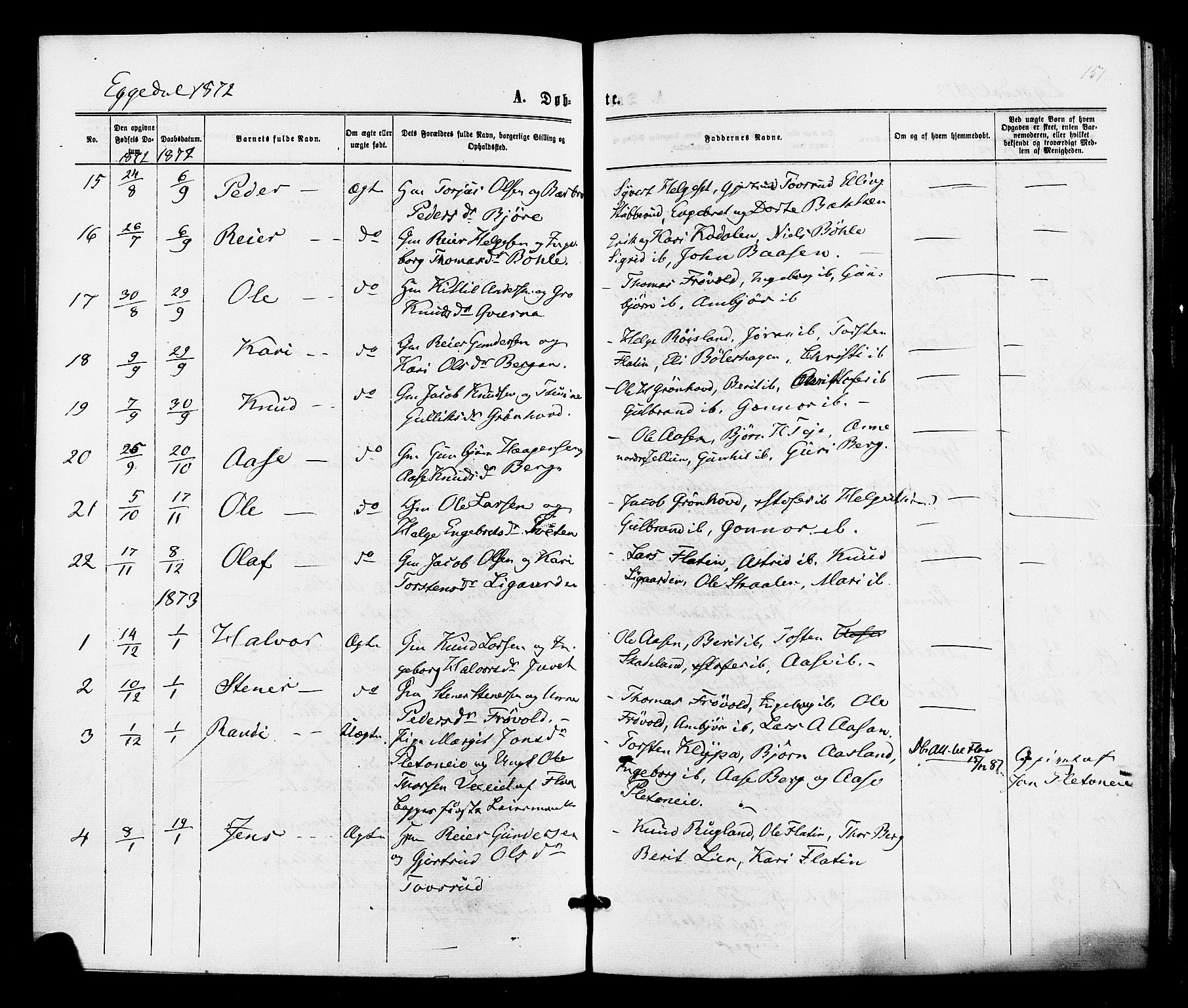 SAKO, Sigdal kirkebøker, F/Fa/L0010: Ministerialbok nr. I 10 /3, 1872-1878, s. 151