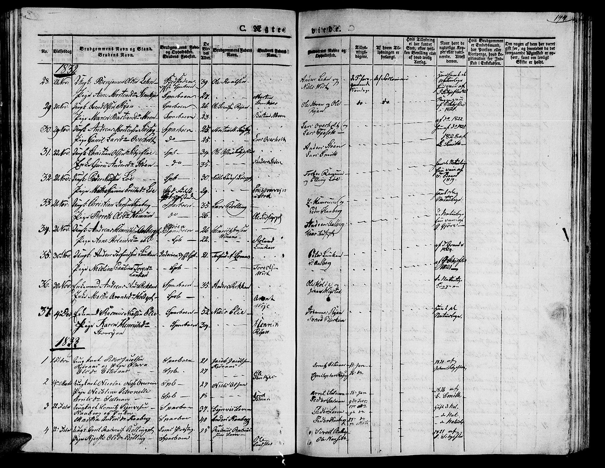 SAT, Ministerialprotokoller, klokkerbøker og fødselsregistre - Nord-Trøndelag, 735/L0336: Ministerialbok nr. 735A05 /1, 1825-1835, s. 194