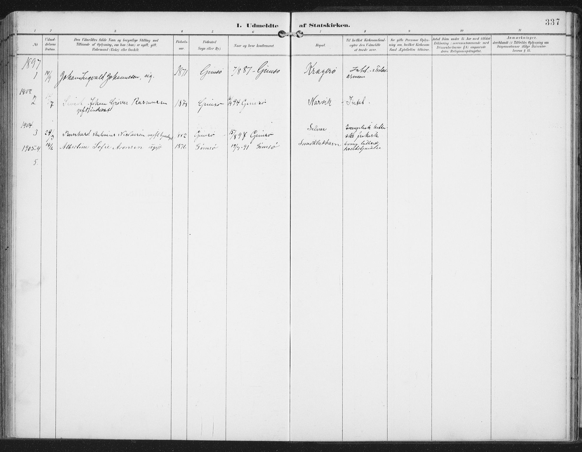 SAT, Ministerialprotokoller, klokkerbøker og fødselsregistre - Nordland, 876/L1098: Ministerialbok nr. 876A04, 1896-1915, s. 337