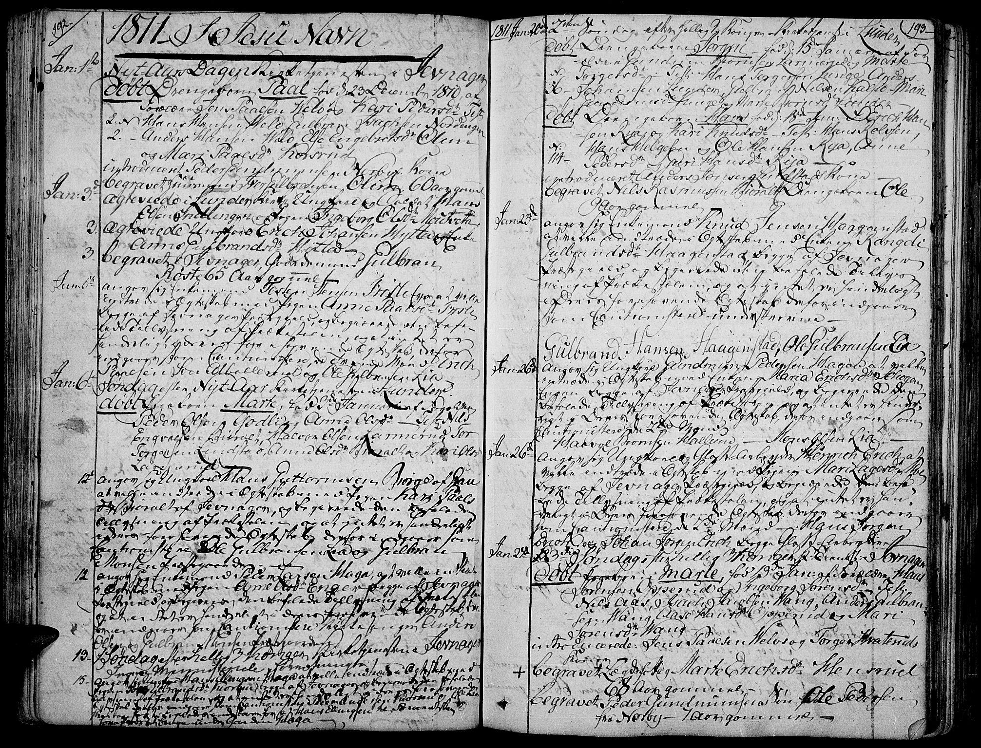 SAH, Jevnaker prestekontor, Ministerialbok nr. 4, 1800-1861, s. 192-193
